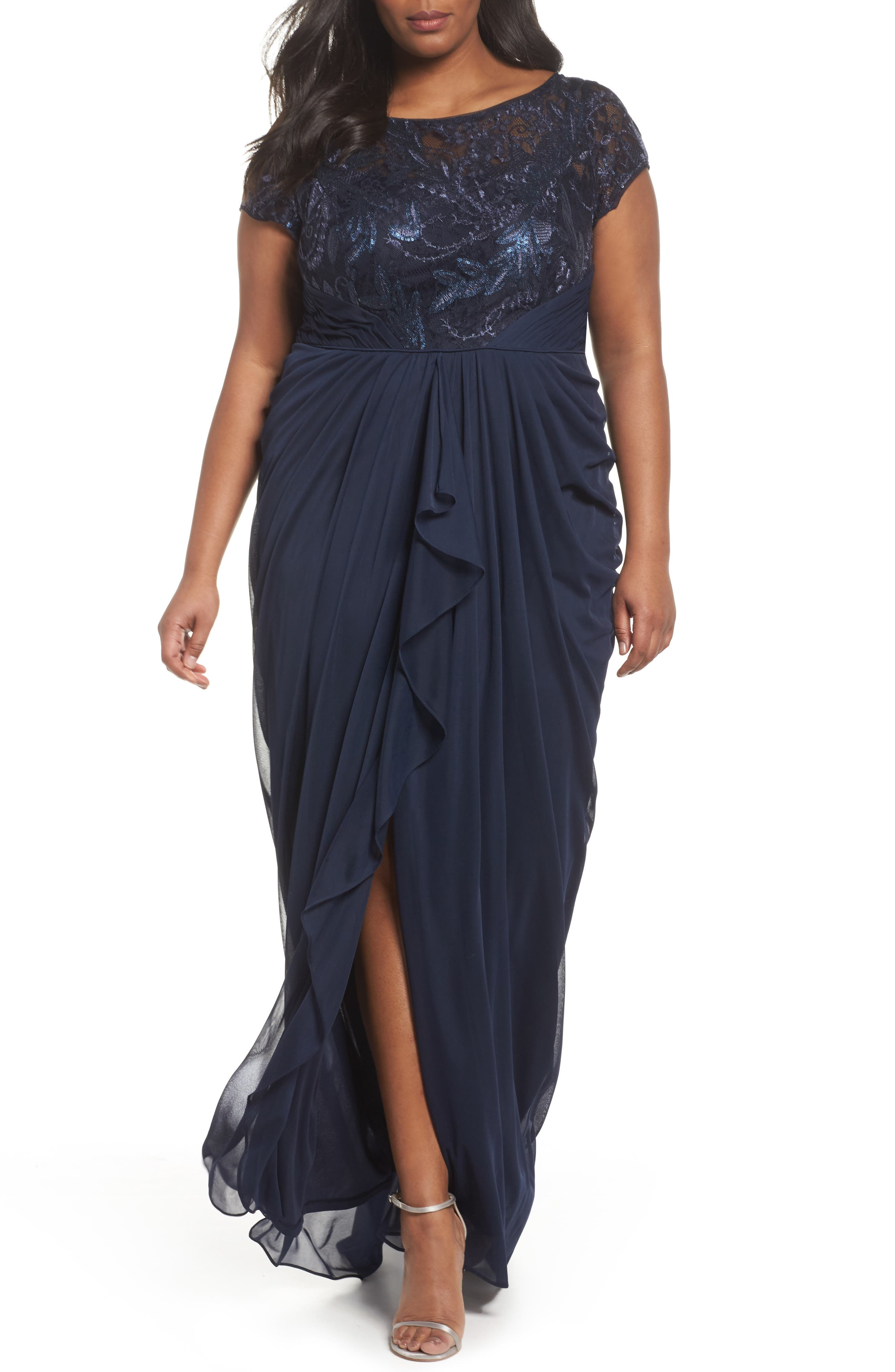Cascading Lace & Tulle Gown,                         Main,                         color, Midnight