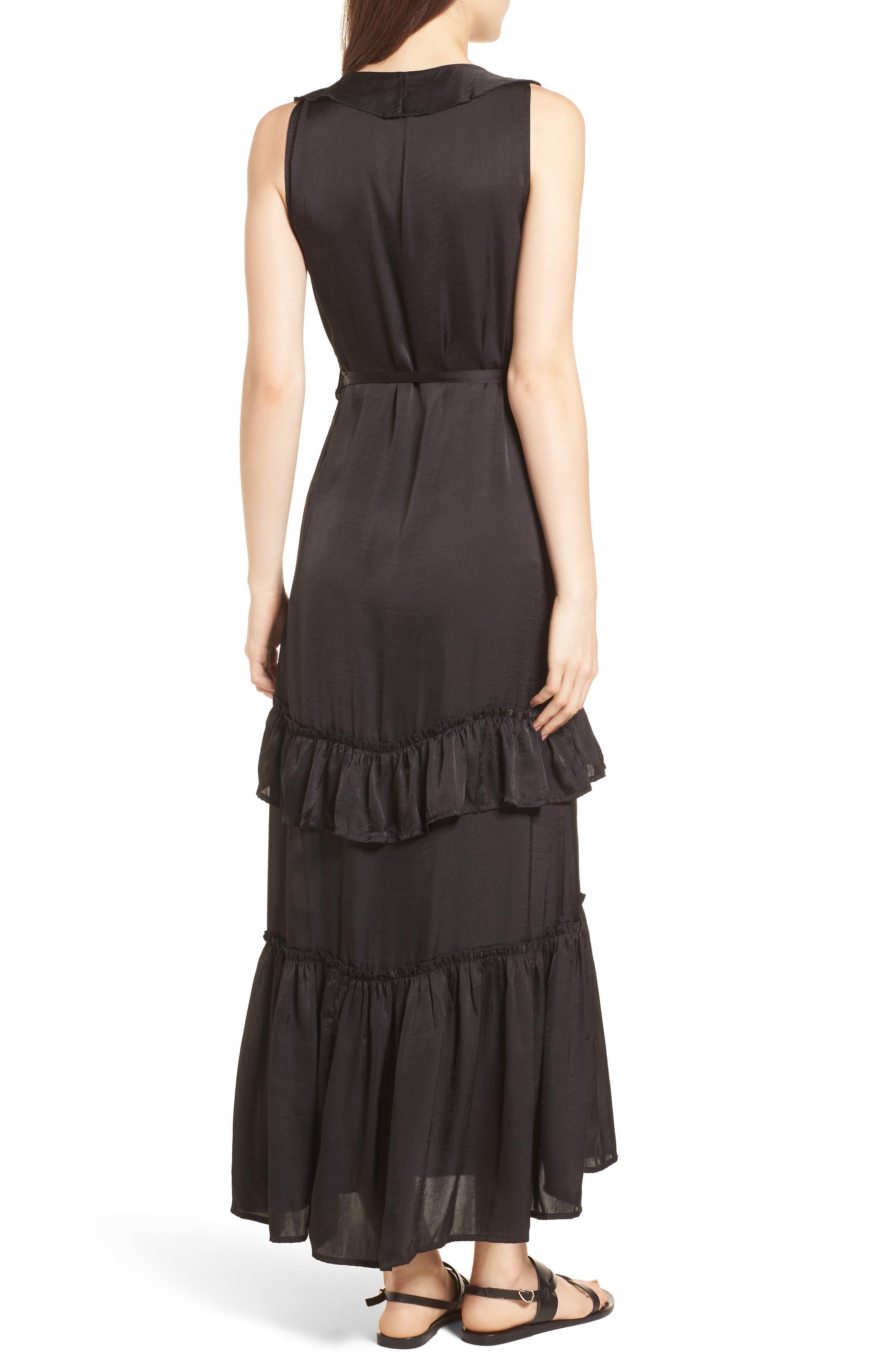 Ruffle Wrap Dress,                             Alternate thumbnail 2, color,                             Black
