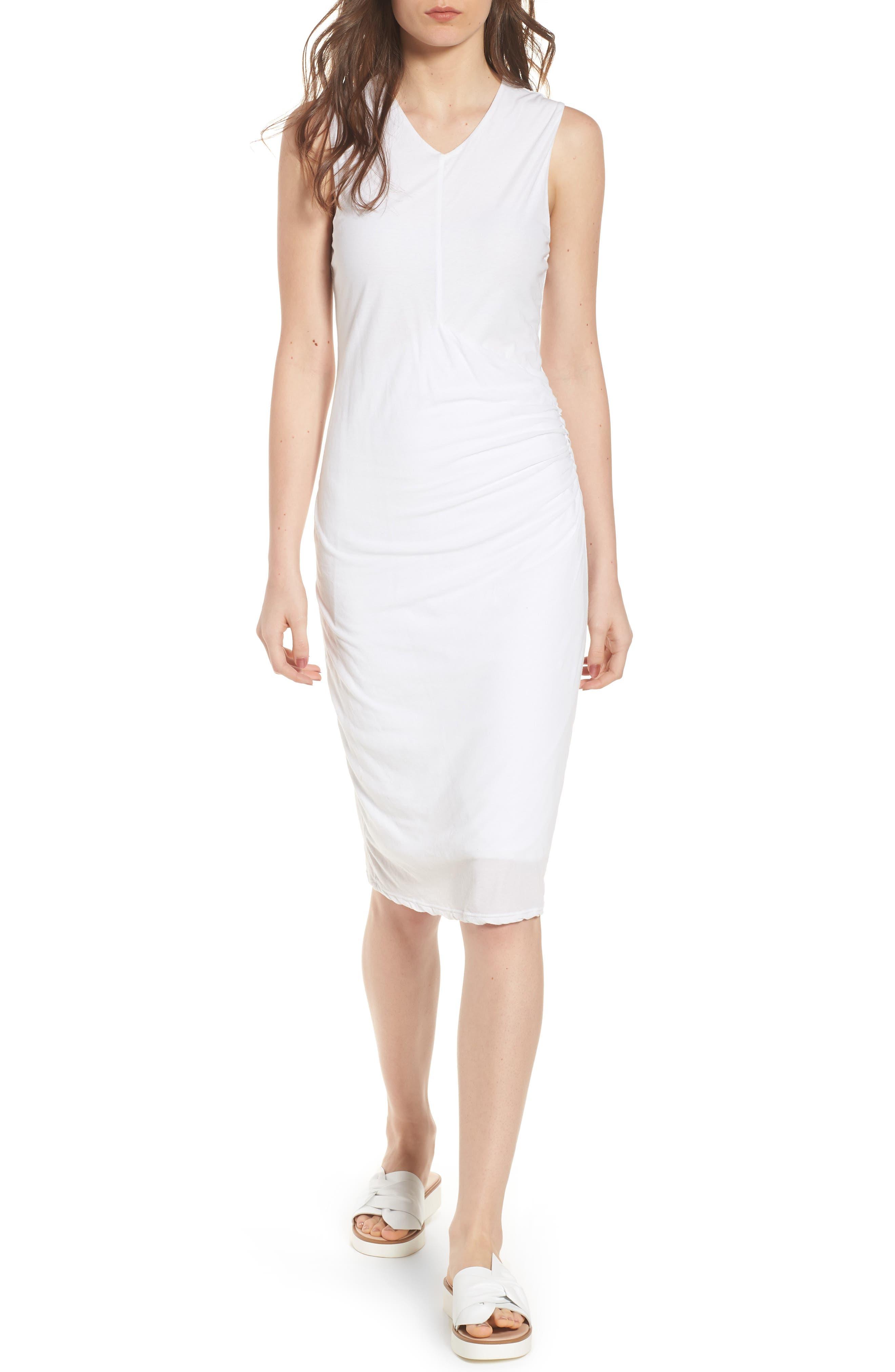 Shirred Midi Dress,                             Main thumbnail 1, color,                             White