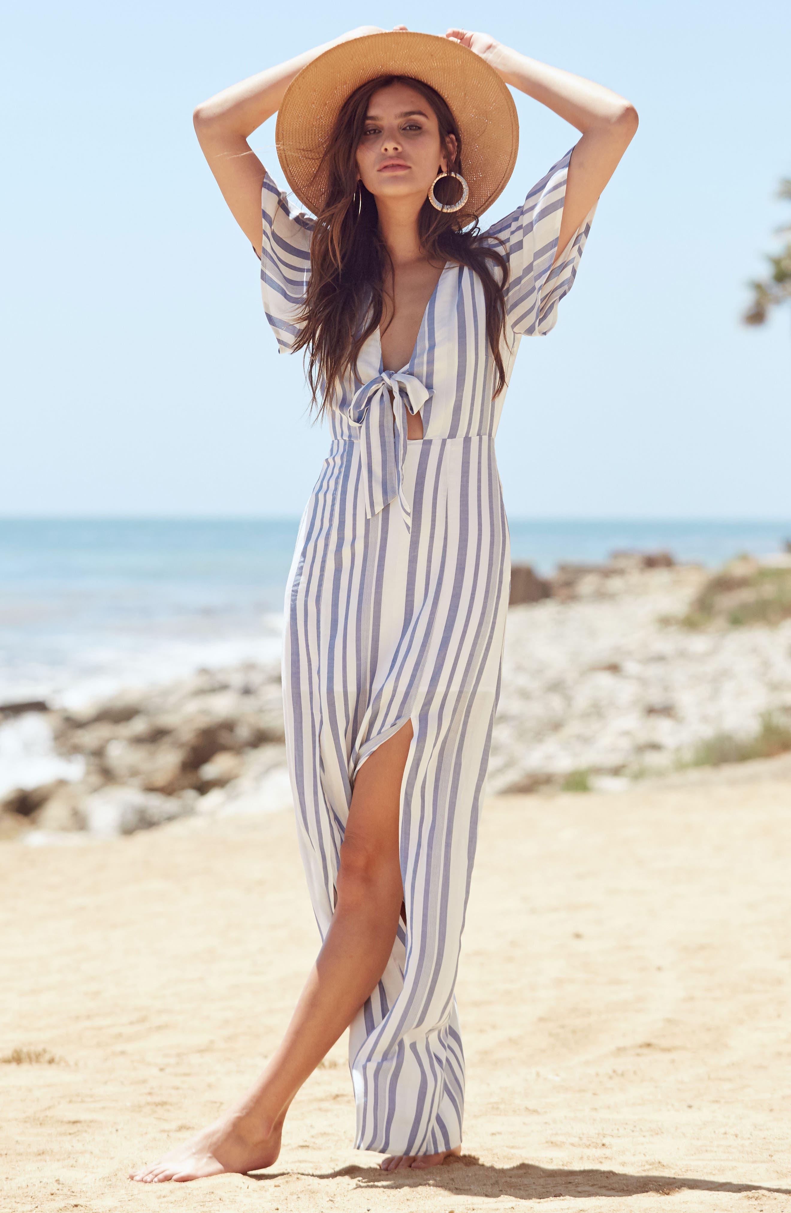 Bow Front Marina Maxi Dress,                             Alternate thumbnail 7, color,                             White/ Blue