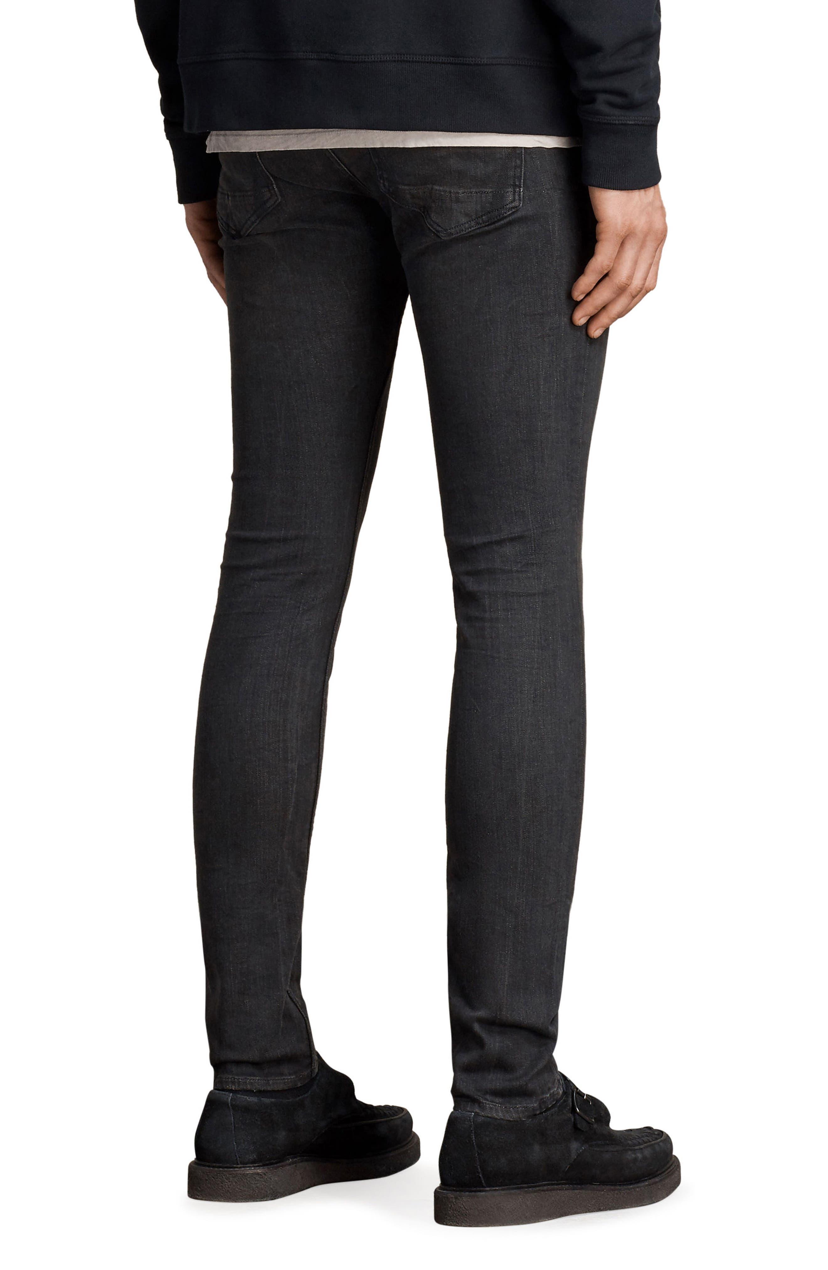 Print Skinny Fit Jeans,                             Alternate thumbnail 2, color,                             Black