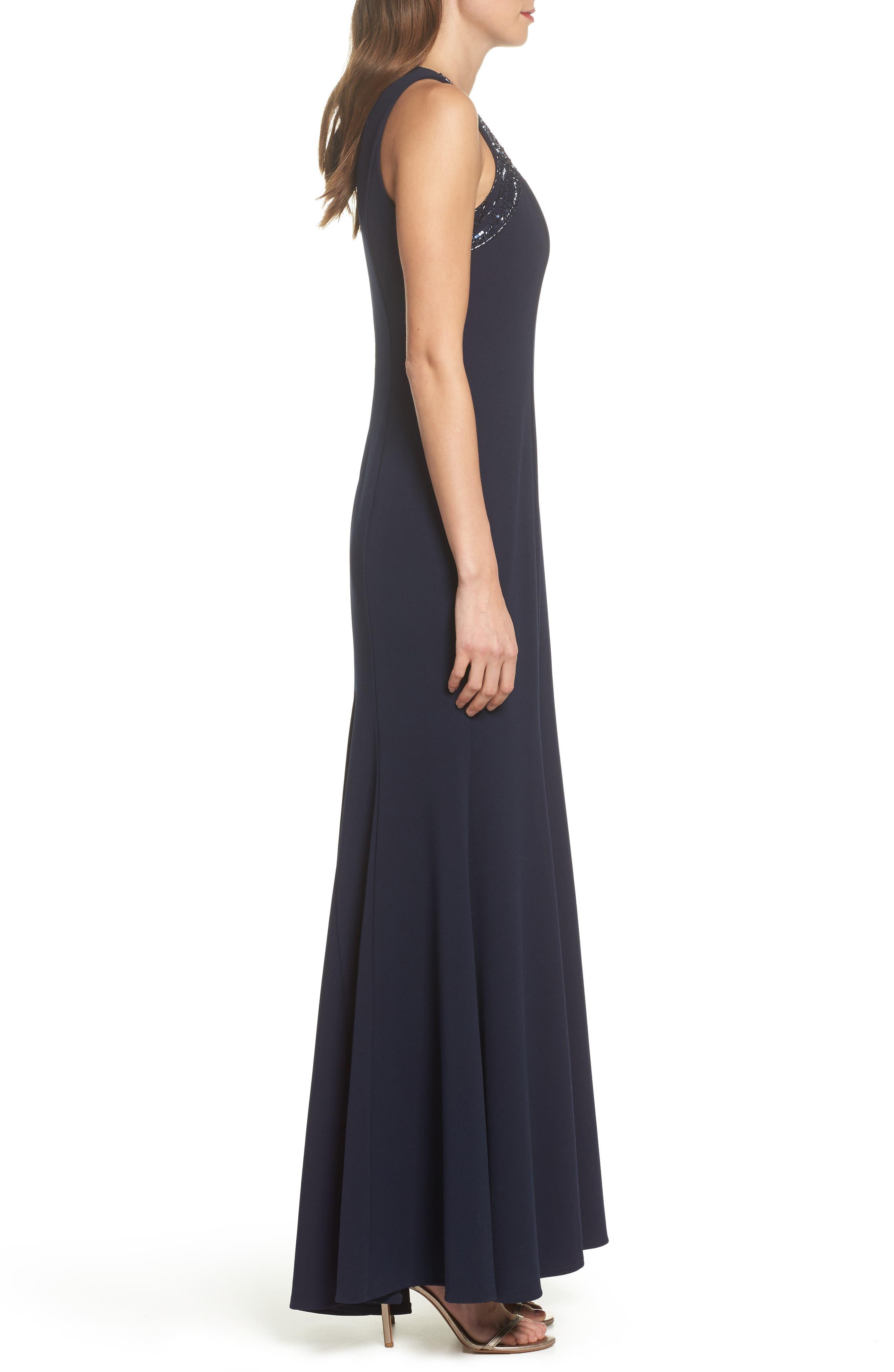 Sleeveless Scuba Crepe Gown,                             Alternate thumbnail 3, color,                             Navy