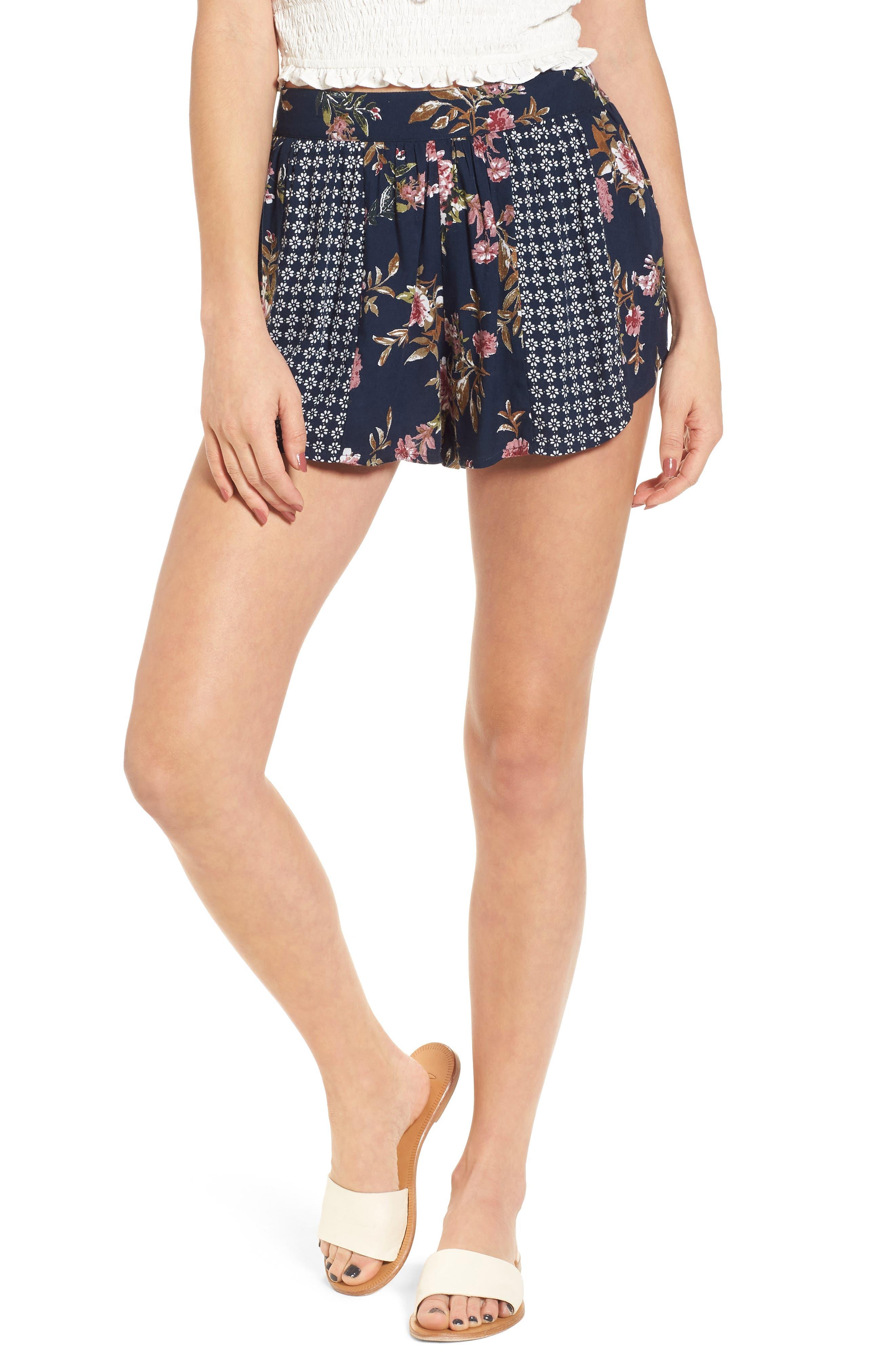 Mix Print Shorts,                         Main,                         color, Navy/ Olive