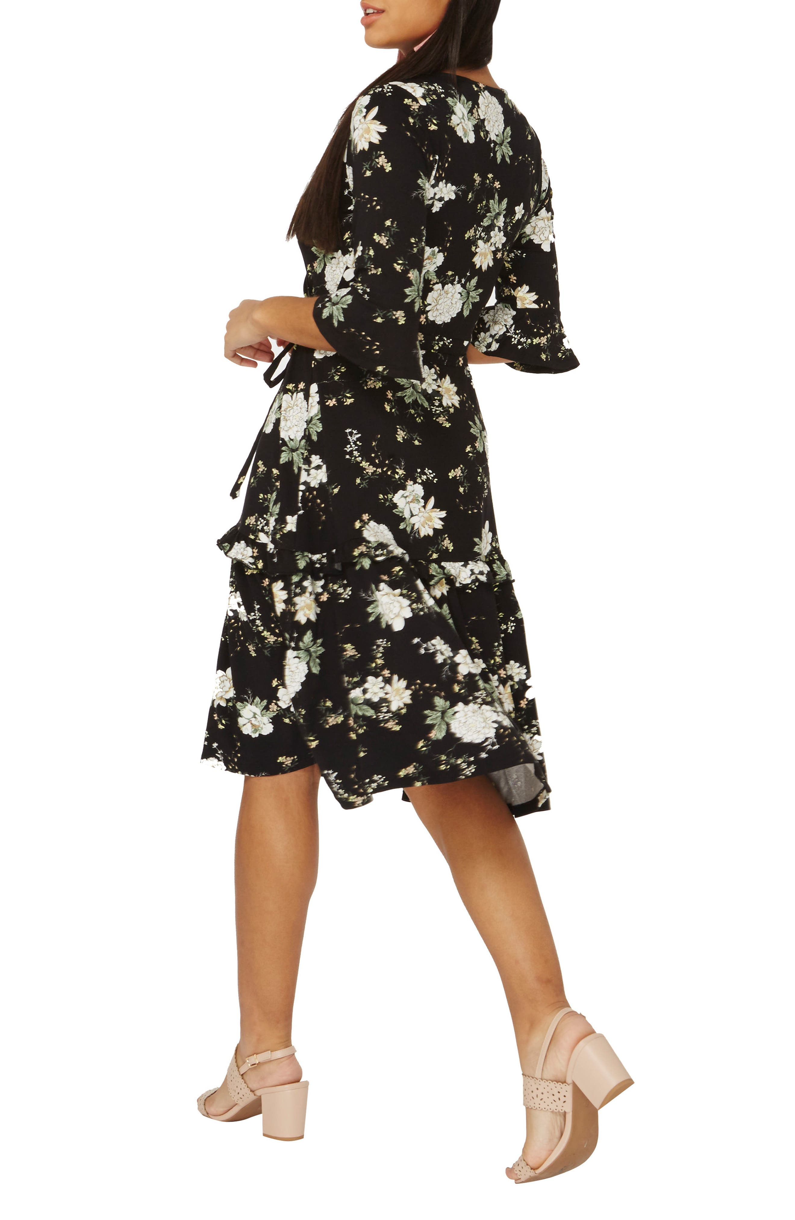 Orchid Midi Wrap Dress,                             Alternate thumbnail 2, color,                             Black