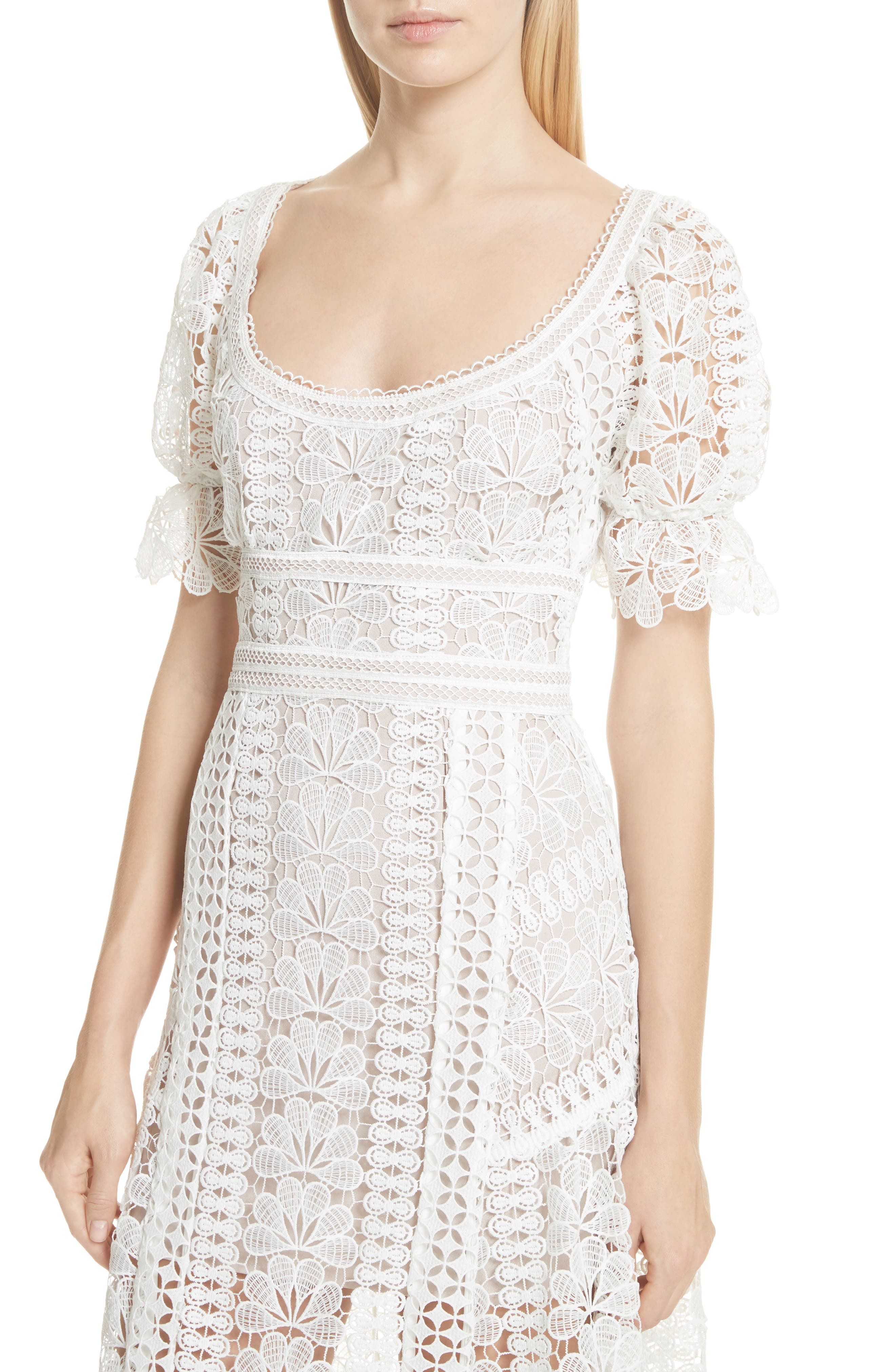 Floral Guipure Lace Midi Dress,                             Alternate thumbnail 4, color,                             White