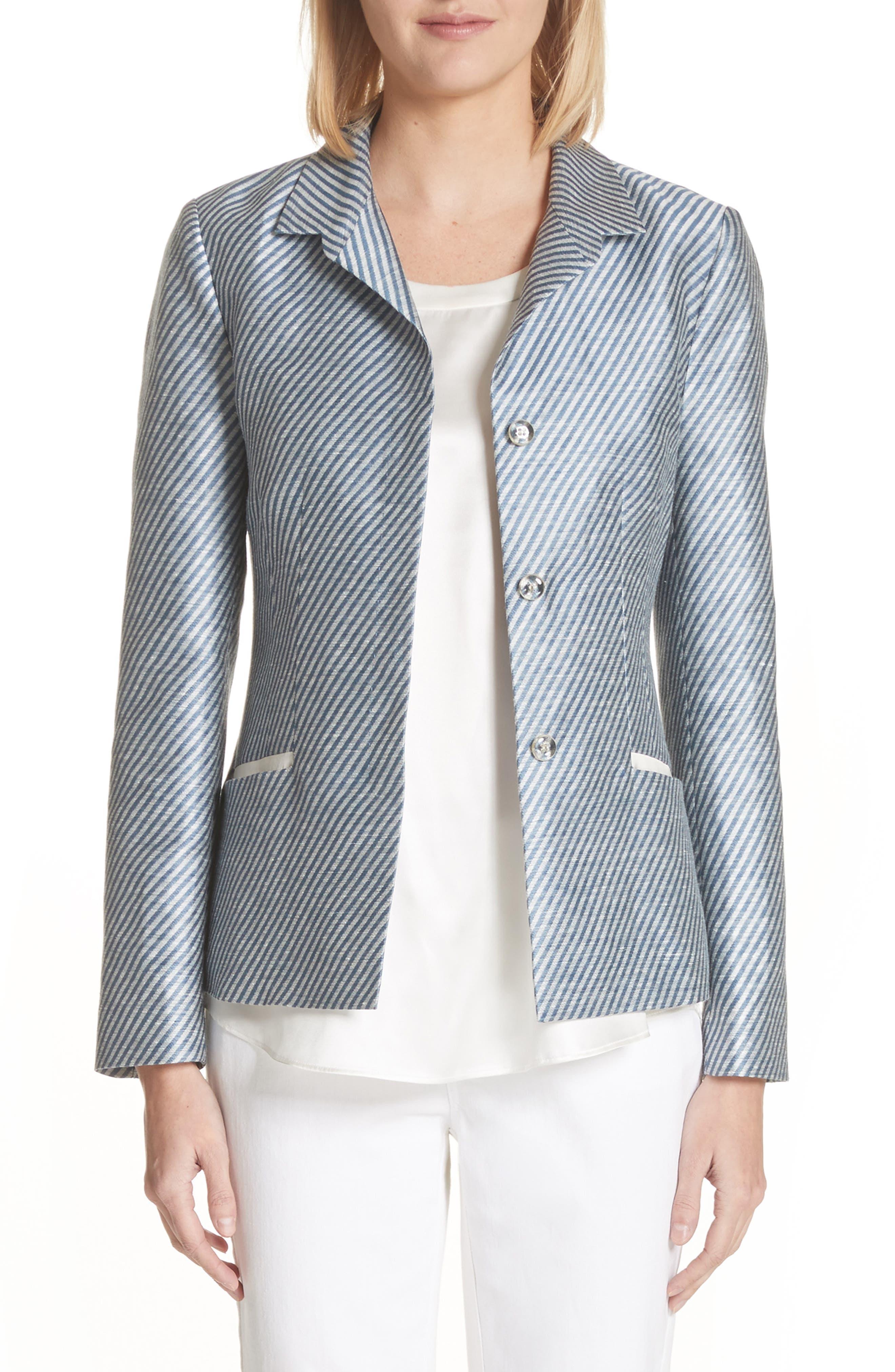 Jasmine Stripe Linen Blend Blazer,                         Main,                         color, Glaze Blue Multi