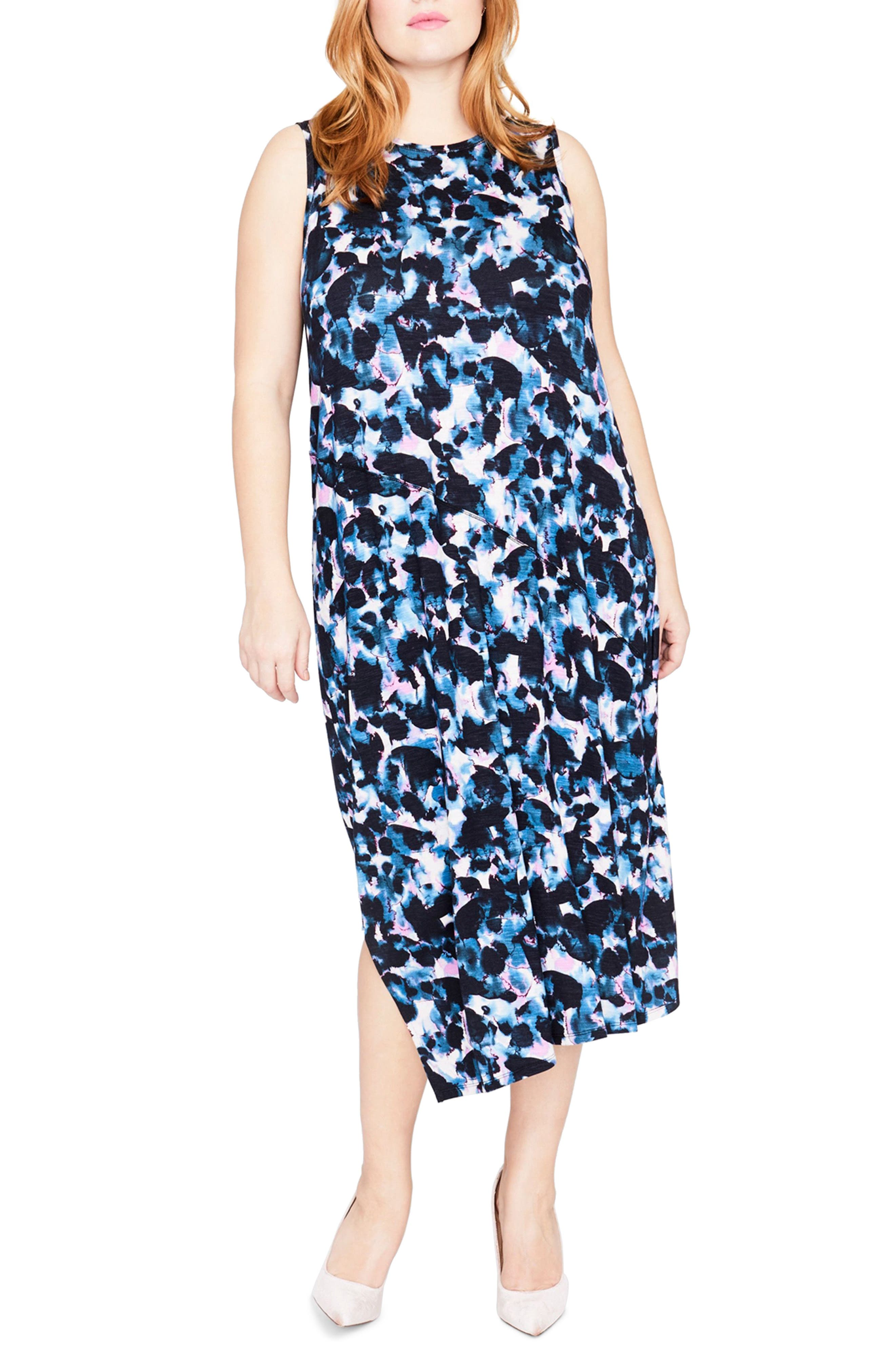 Print Drape Back Midi Dress,                         Main,                         color, True Navy Combo