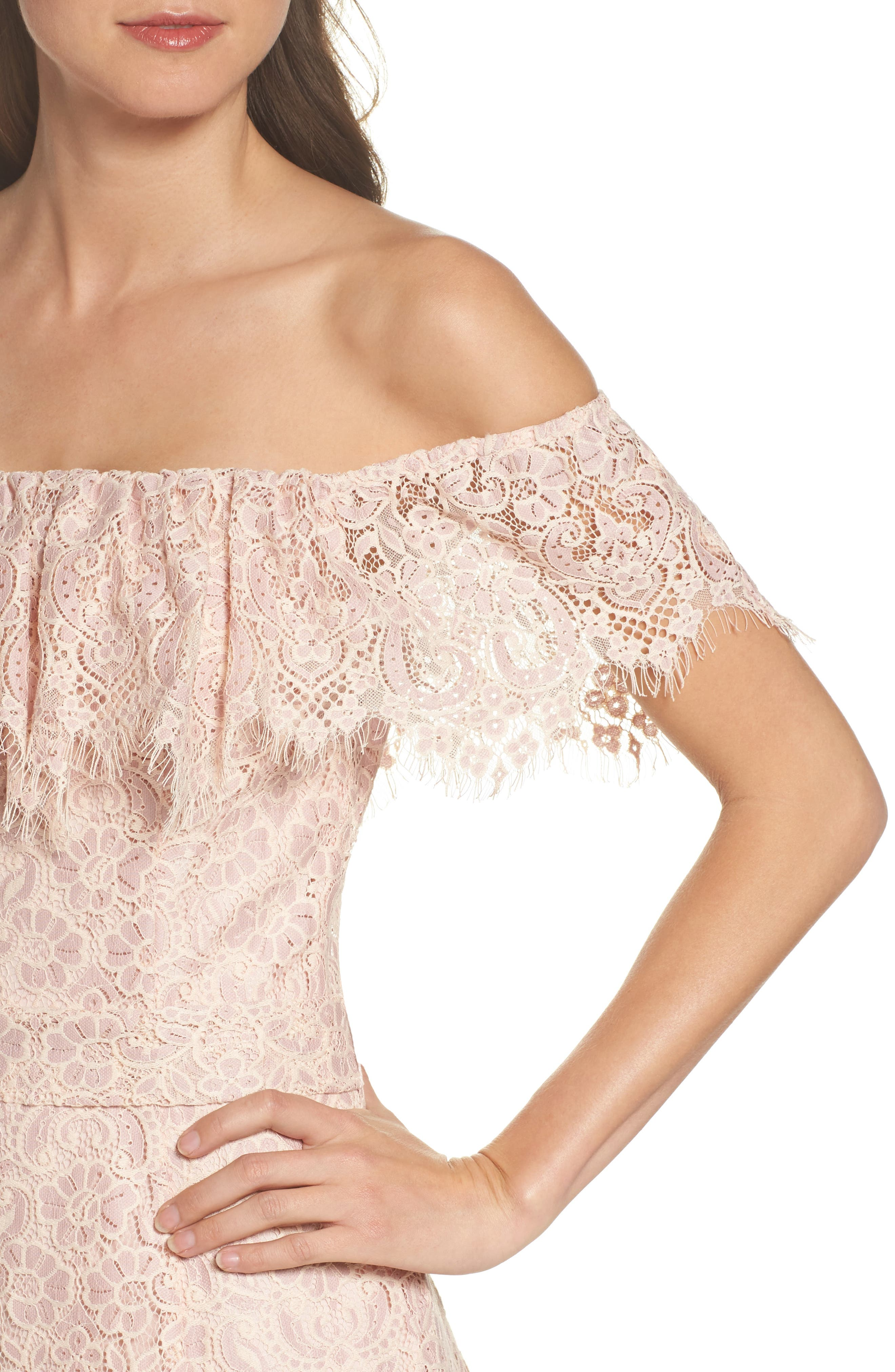 Off the Shoulder Lace Dress,                             Alternate thumbnail 4, color,                             Dusty Pink