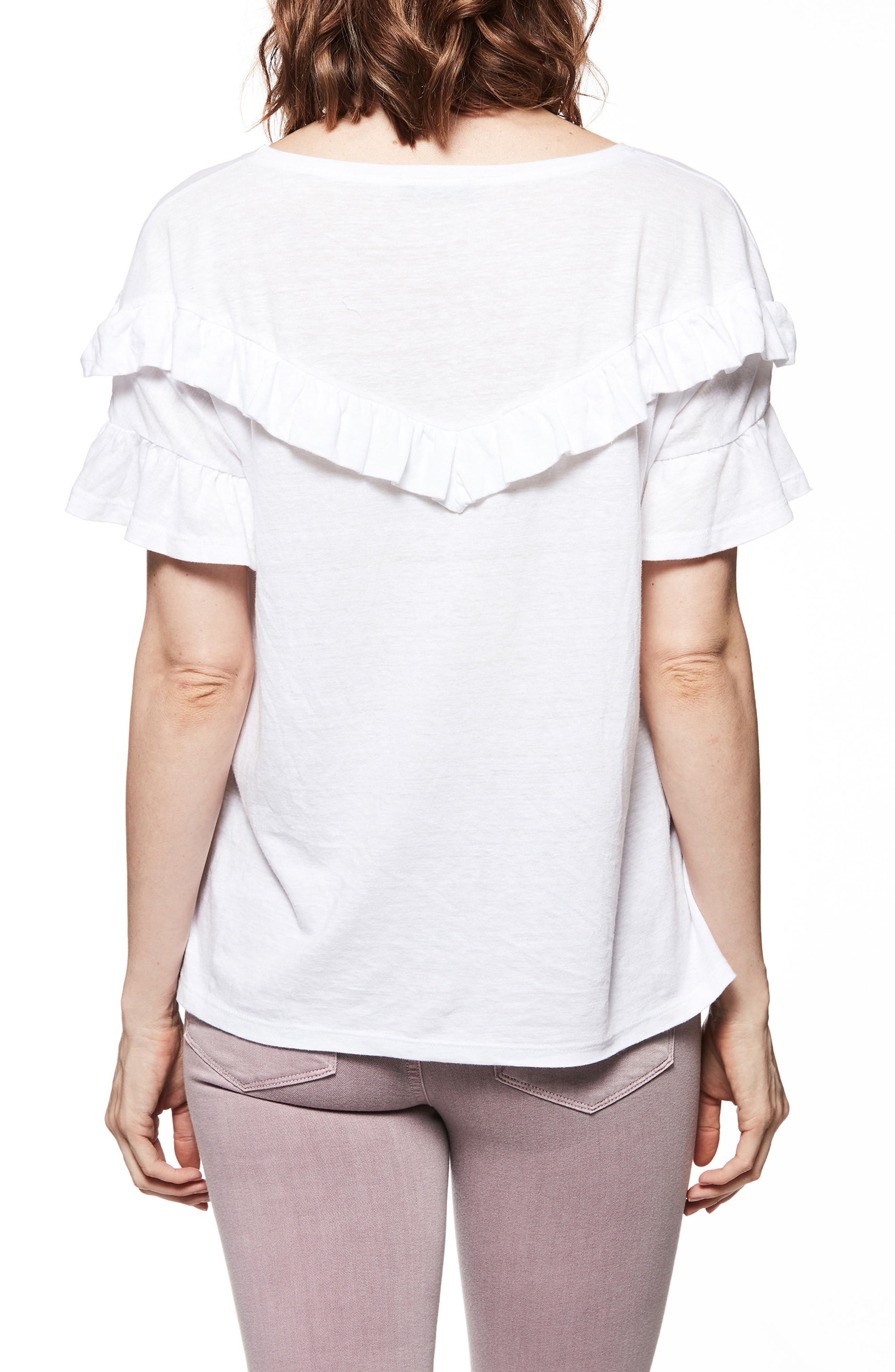 Adalie Ruffle Tee,                             Alternate thumbnail 2, color,                             White