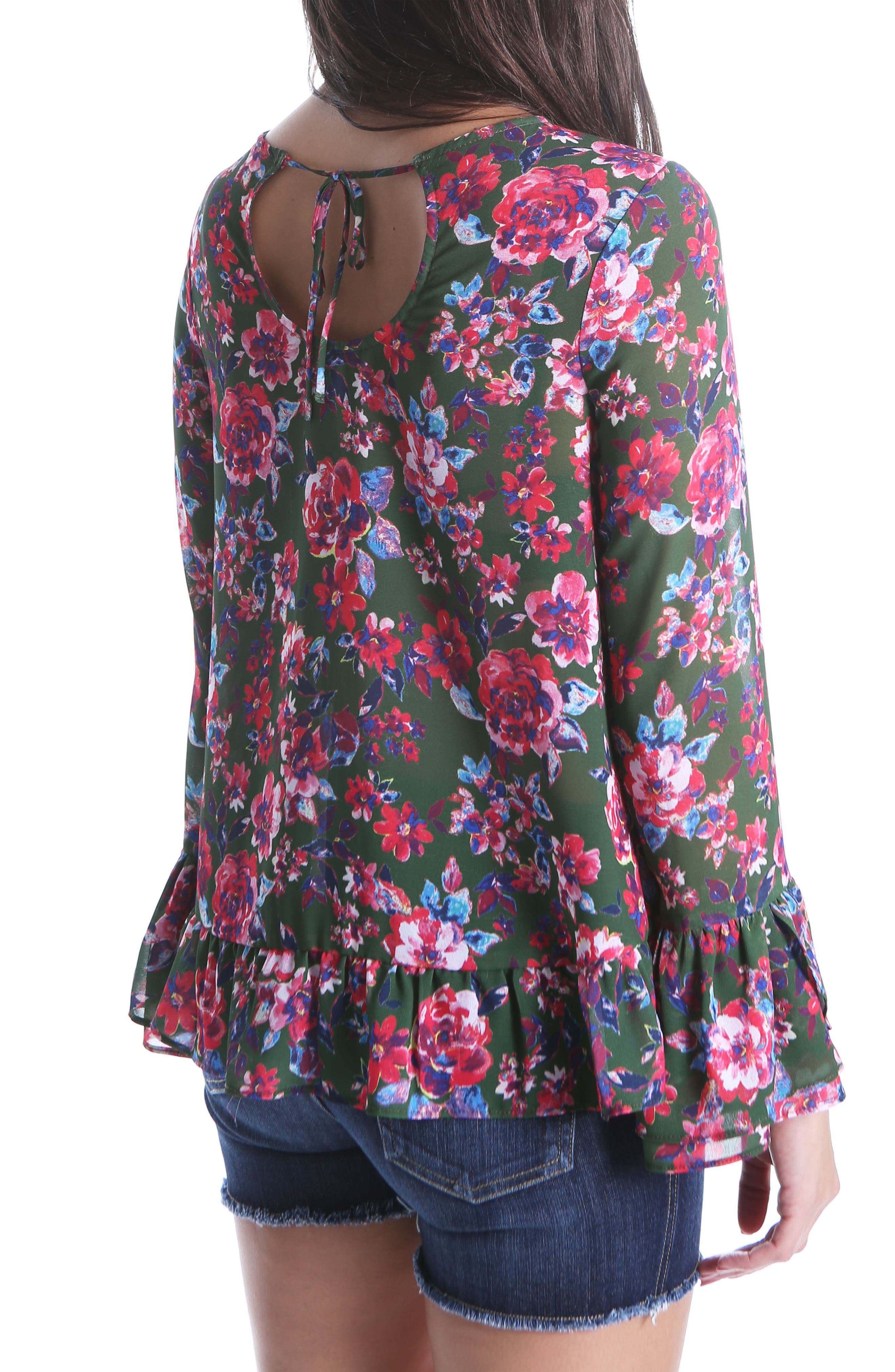 Trixy Ruffle Sleeve Floral Top,                             Alternate thumbnail 2, color,                             Pine