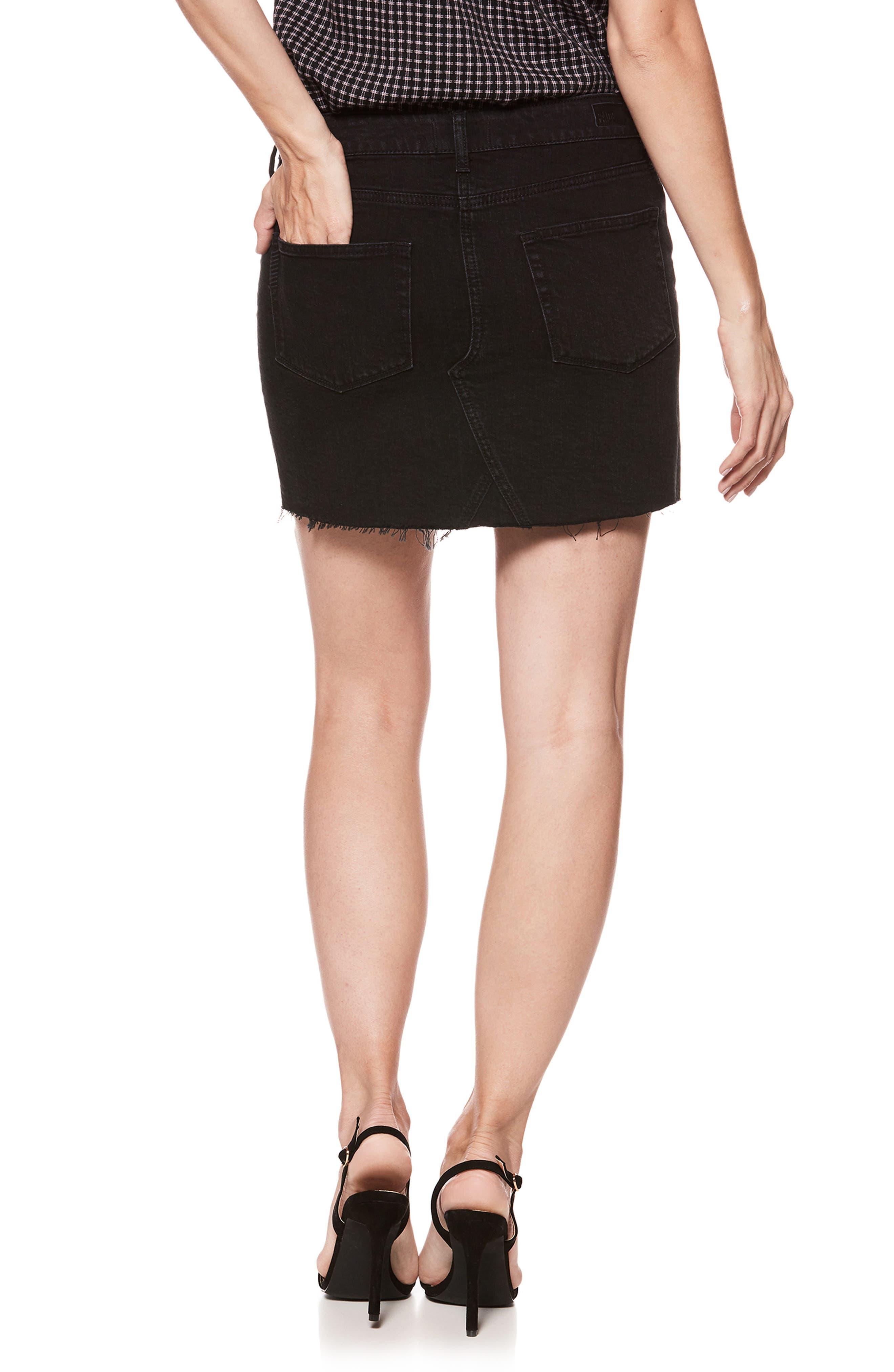 Afia Asymmetrical Step Hem Denim Miniskirt,                             Alternate thumbnail 3, color,                             Vintage Noir