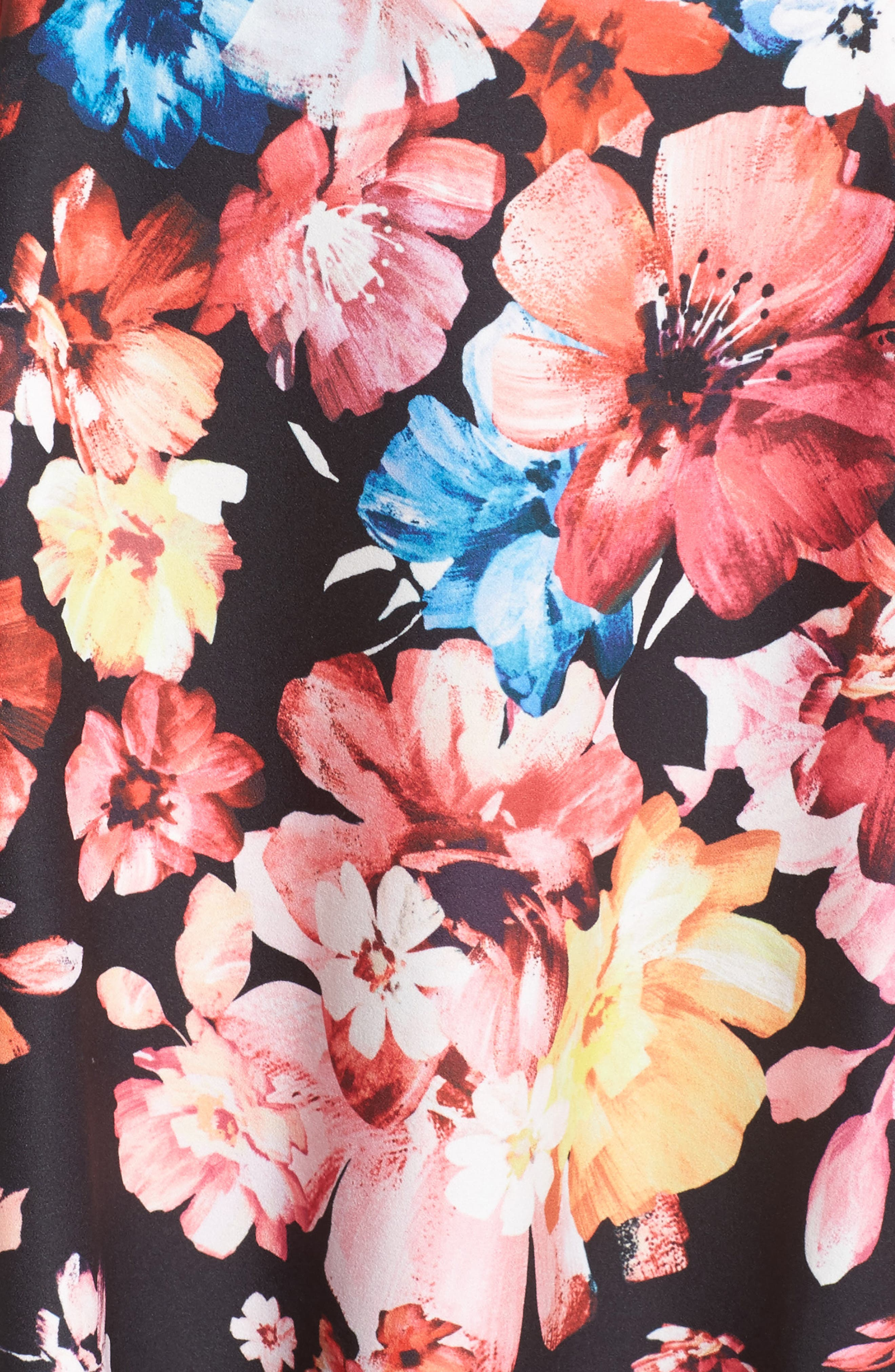 Spring In Bloom Fit & Flare Dress,                             Alternate thumbnail 5, color,                             Black Multi
