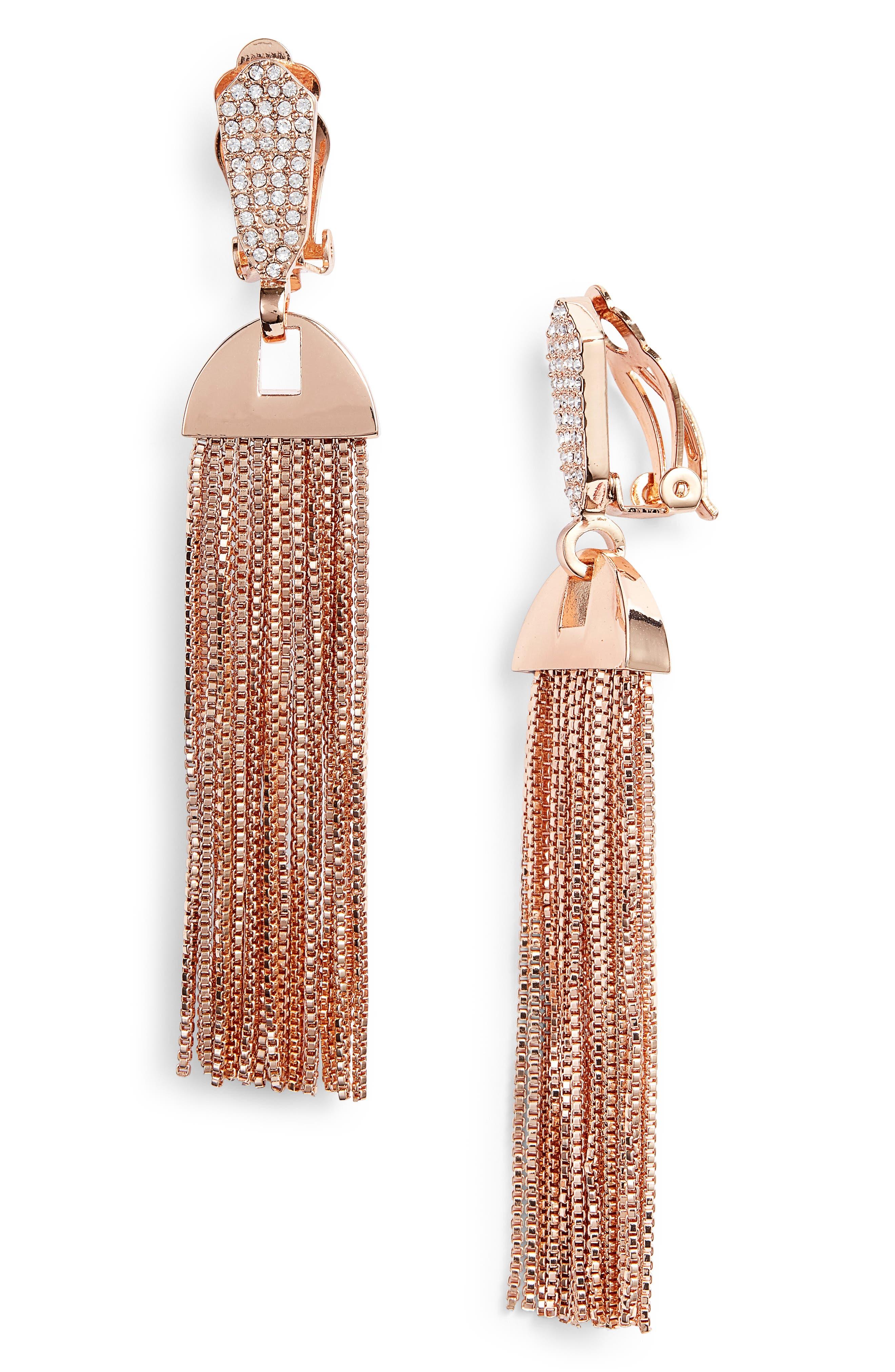 Vince Camuto Pavé Tassel Earrings