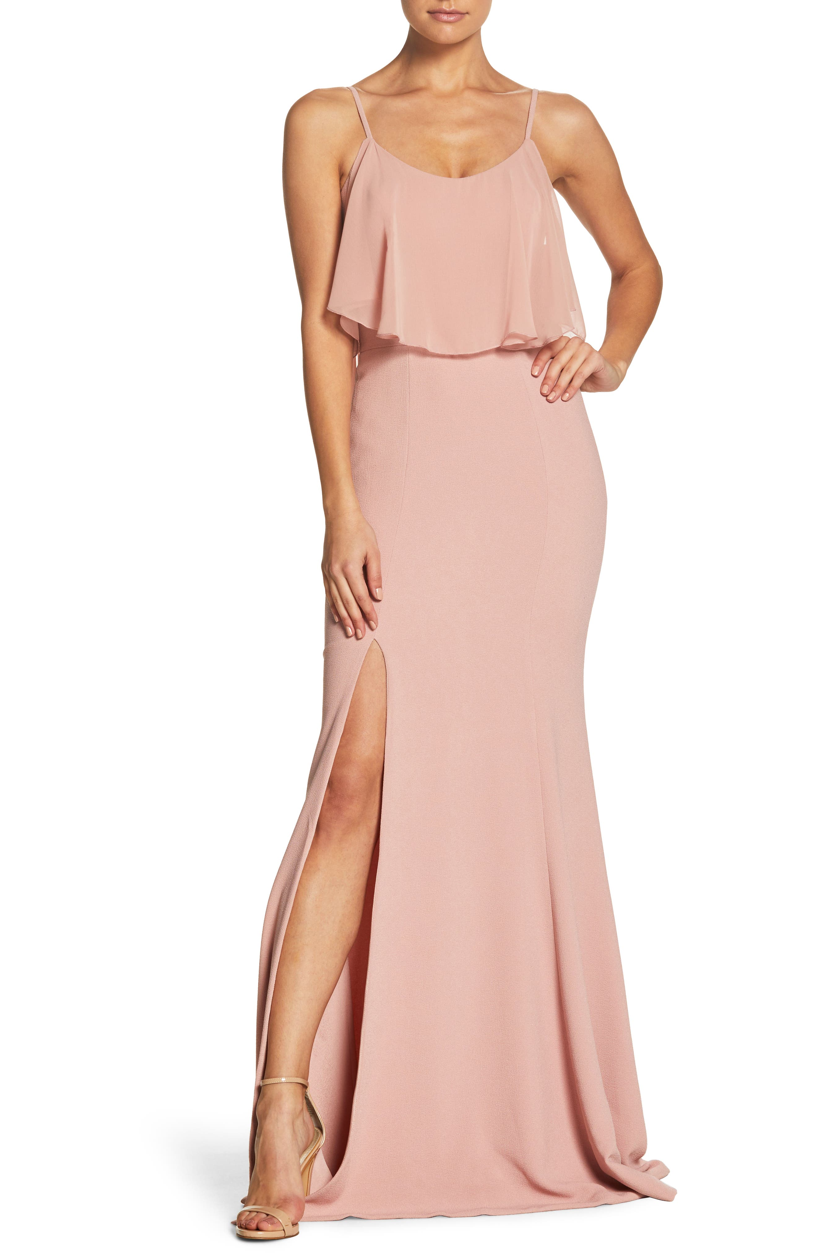 Diana Cold Shoulder Side Slit Gown,                         Main,                         color, Blush
