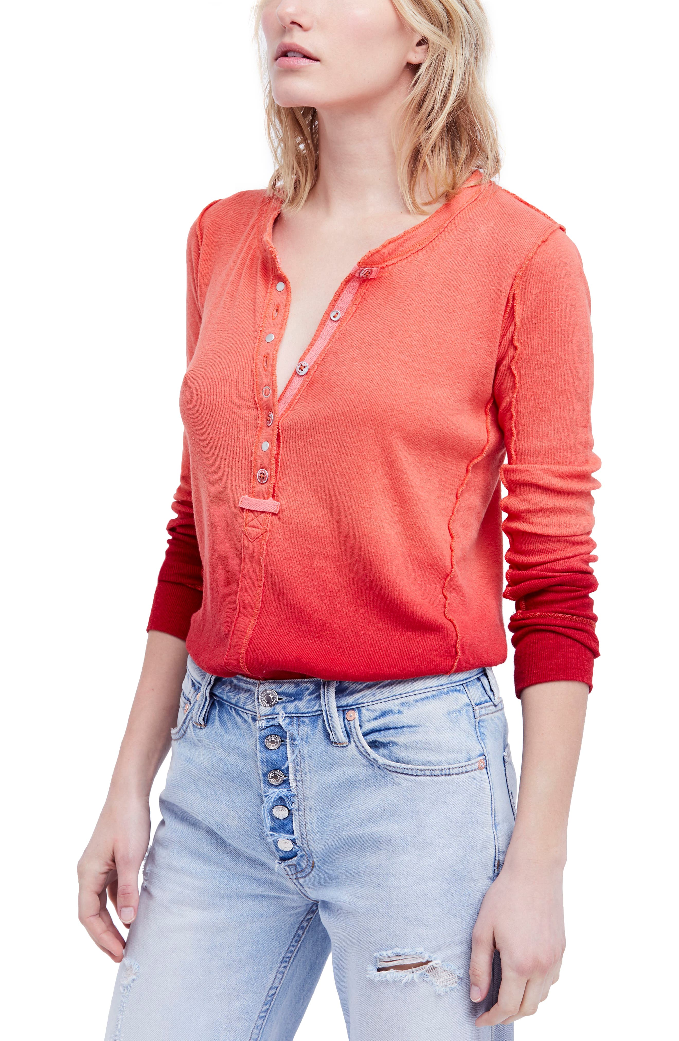 Cozy Up Henley,                         Main,                         color, Raspberry