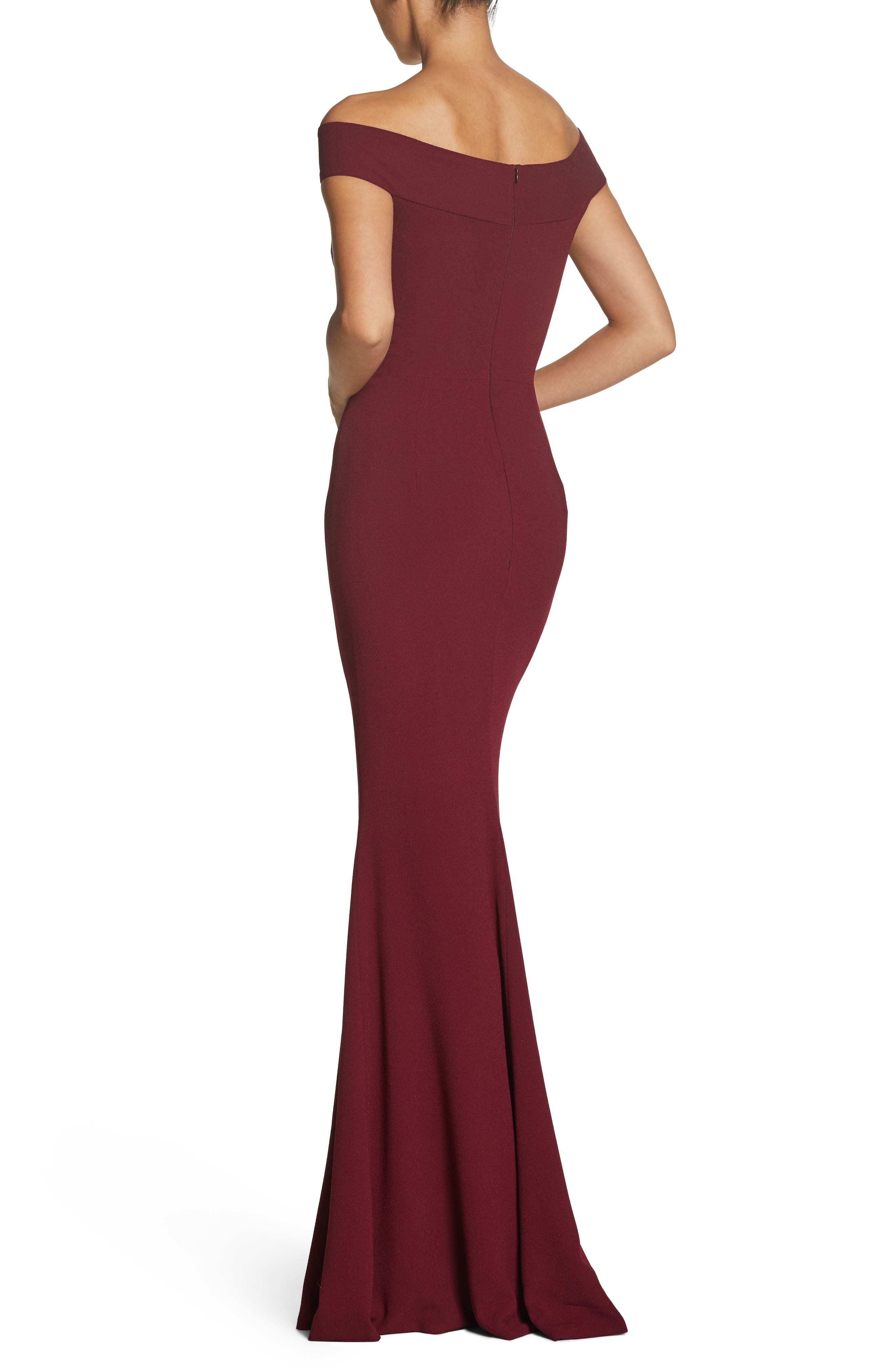 Alternate Image 2  - Dress the Population Jackie Off the Shoulder Crepe Trumpet Gown