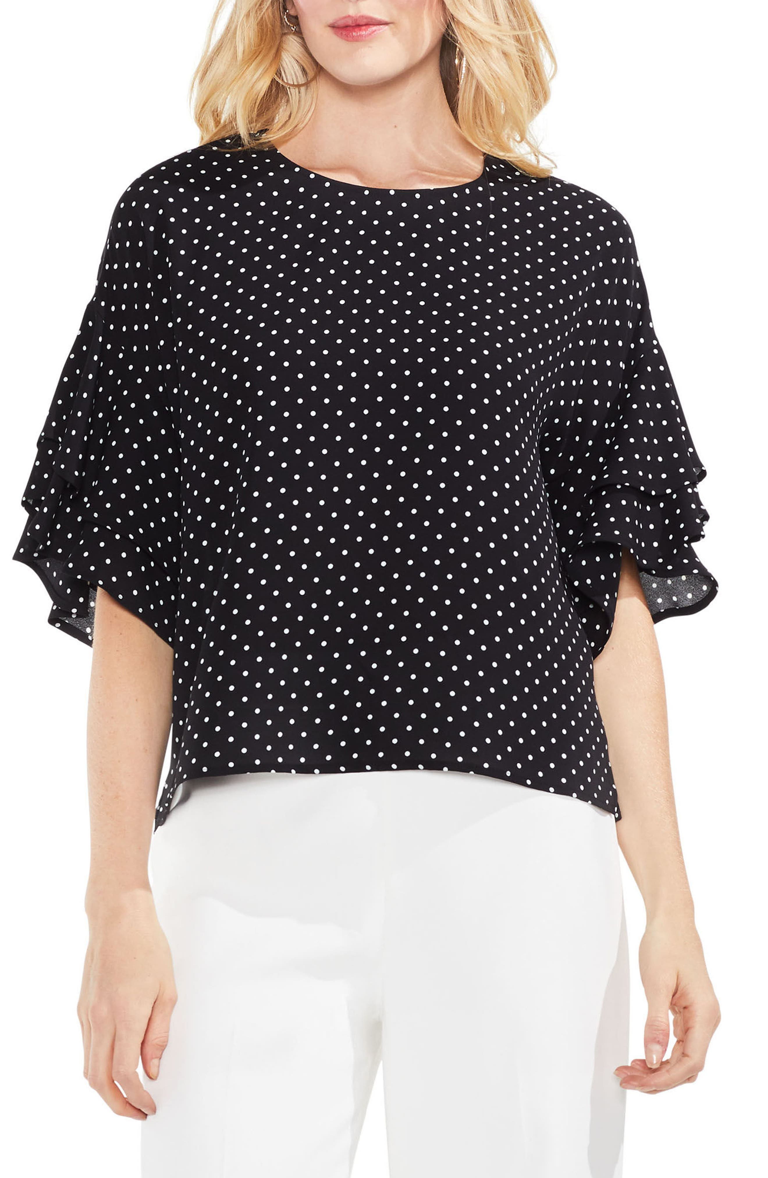 Poetic Dots Tiered Ruffle Sleeve Blouse,                             Main thumbnail 1, color,                             Rich Black