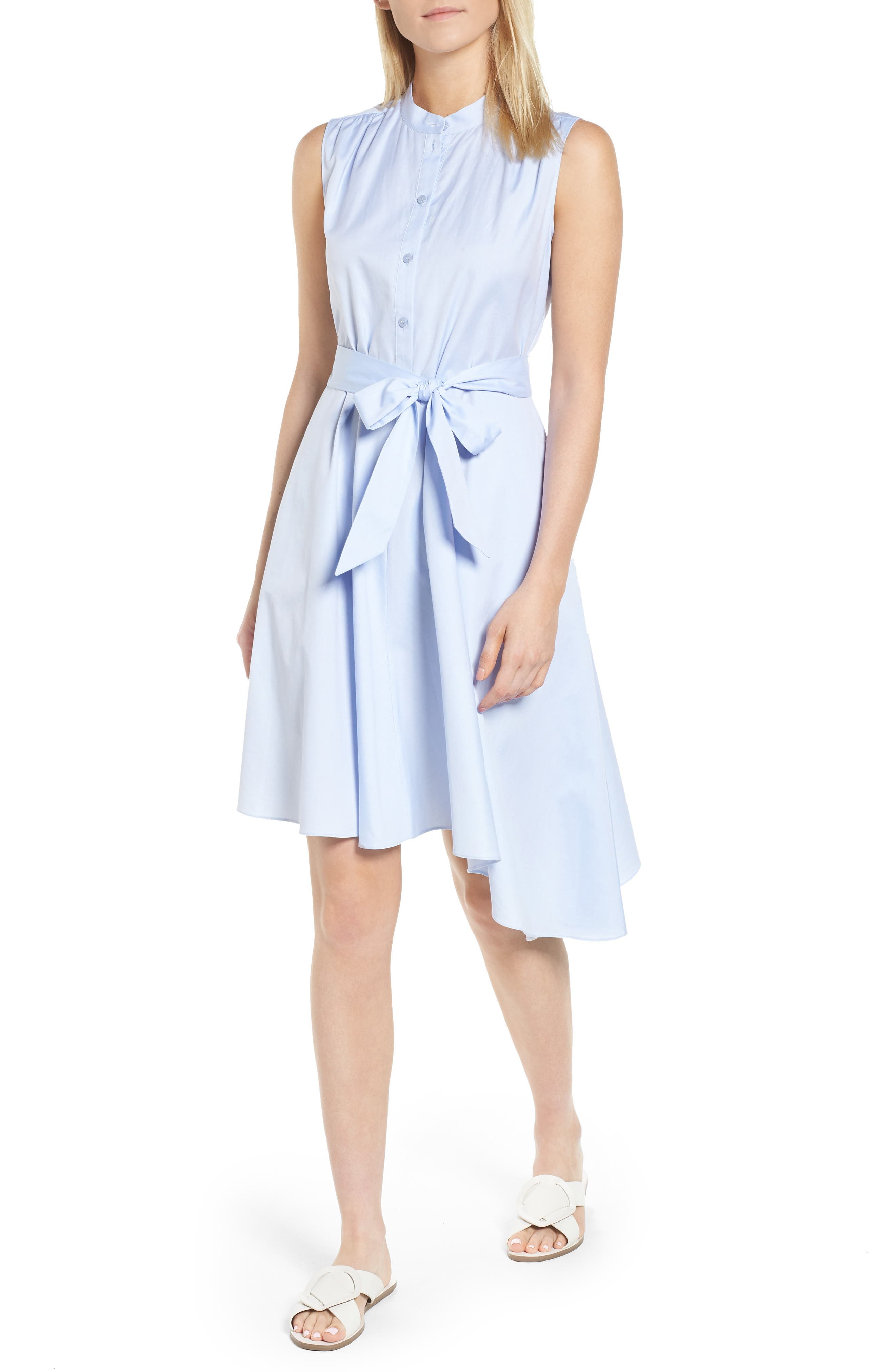Asymmetrical Shirtdress,                         Main,                         color, Blue Feather