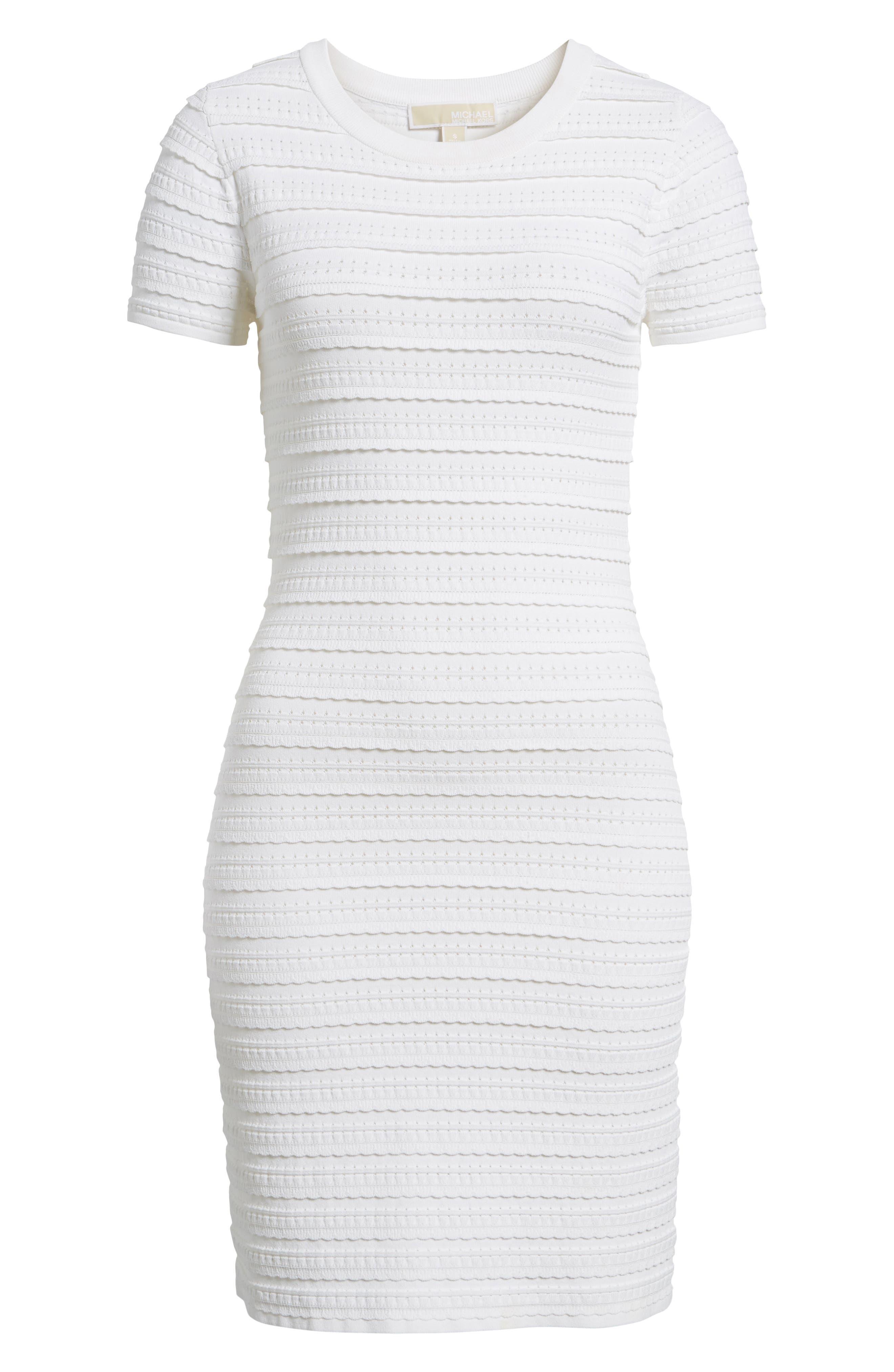 Tiered Sheath Dress,                             Alternate thumbnail 6, color,                             White