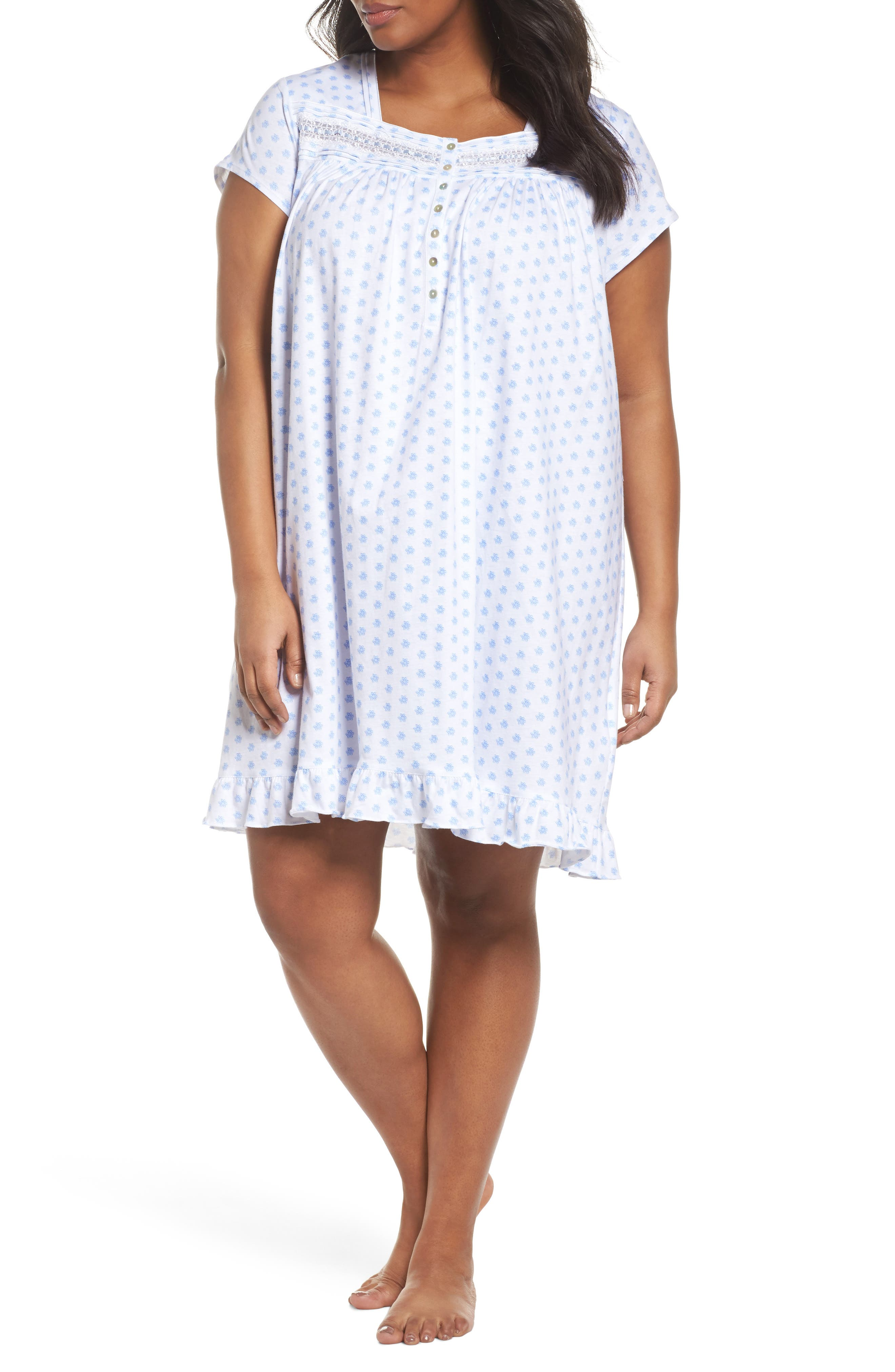 Short Nightgown,                         Main,                         color, White Blue Geo