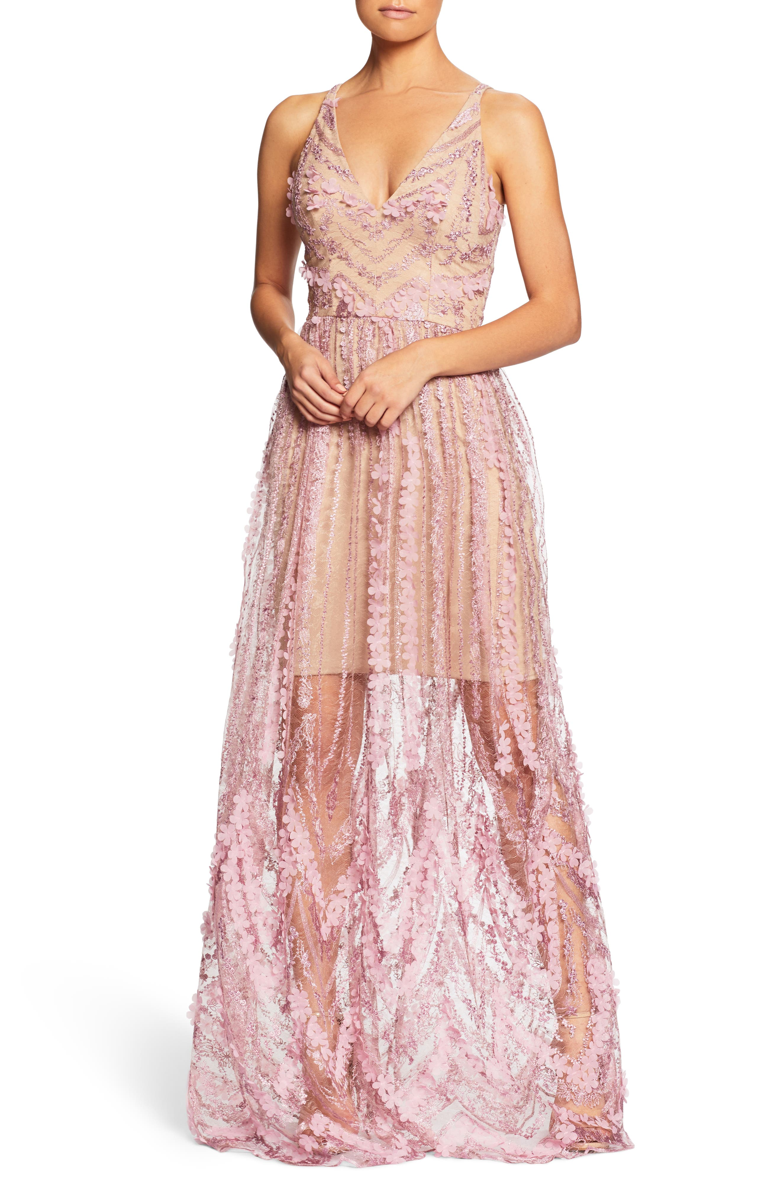 Chelsea Lace A-Line Gown,                             Main thumbnail 1, color,                             Lilac/ Nude