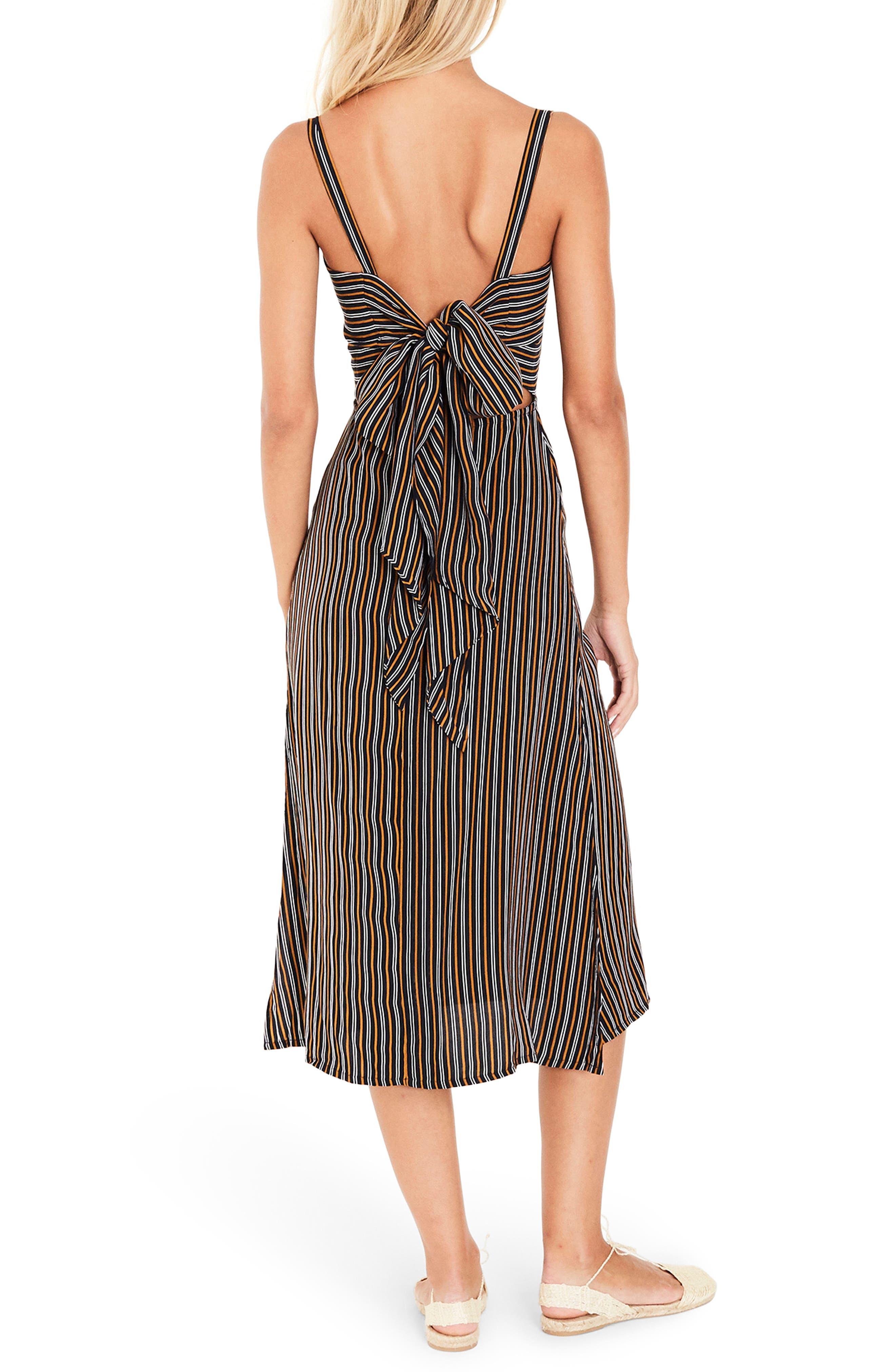Katergo Stripe Tie Back Midi Dress,                             Alternate thumbnail 3, color,                             Glasgow Stripe Print