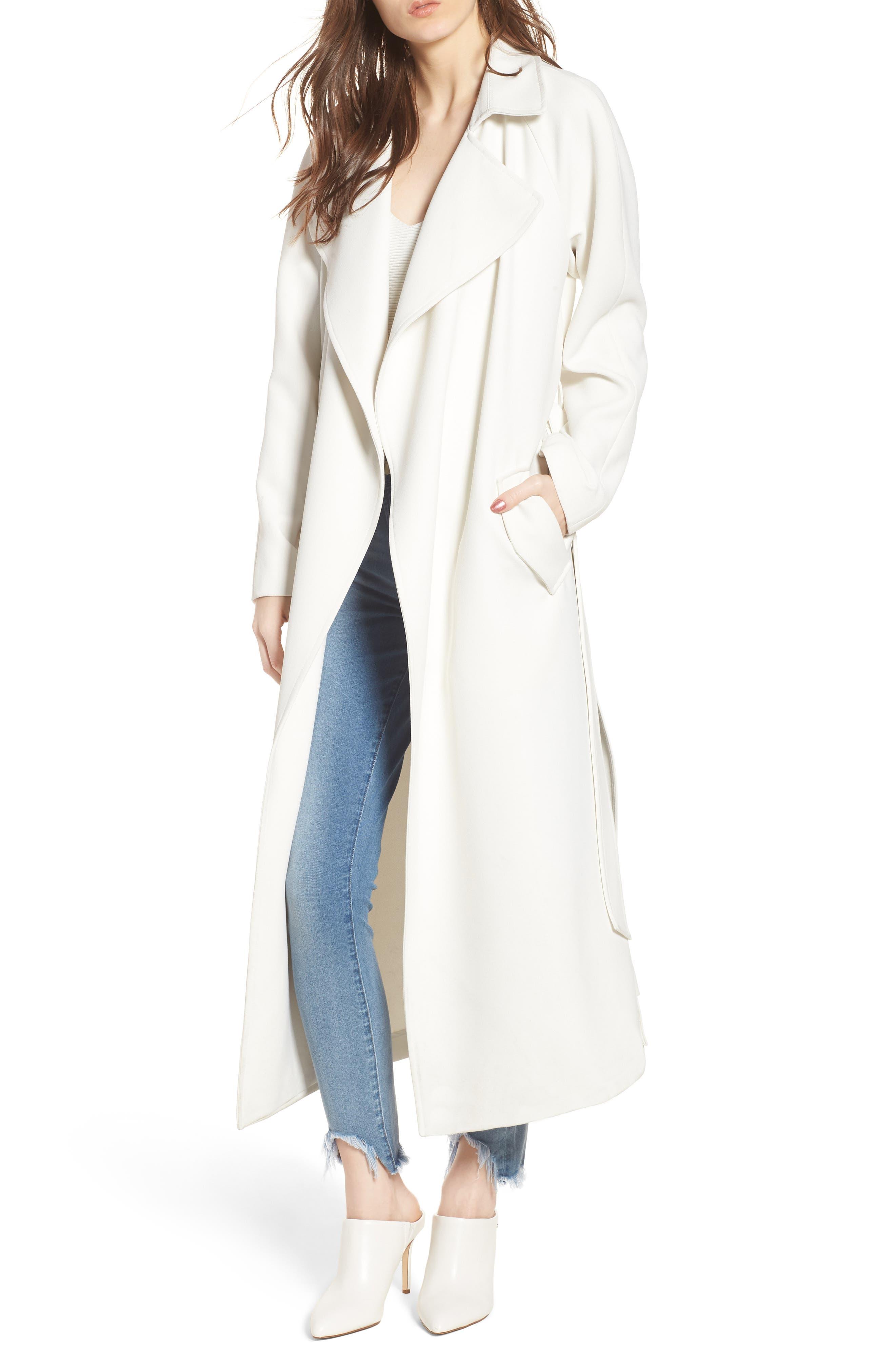 Drape Trench Coat,                         Main,                         color, White