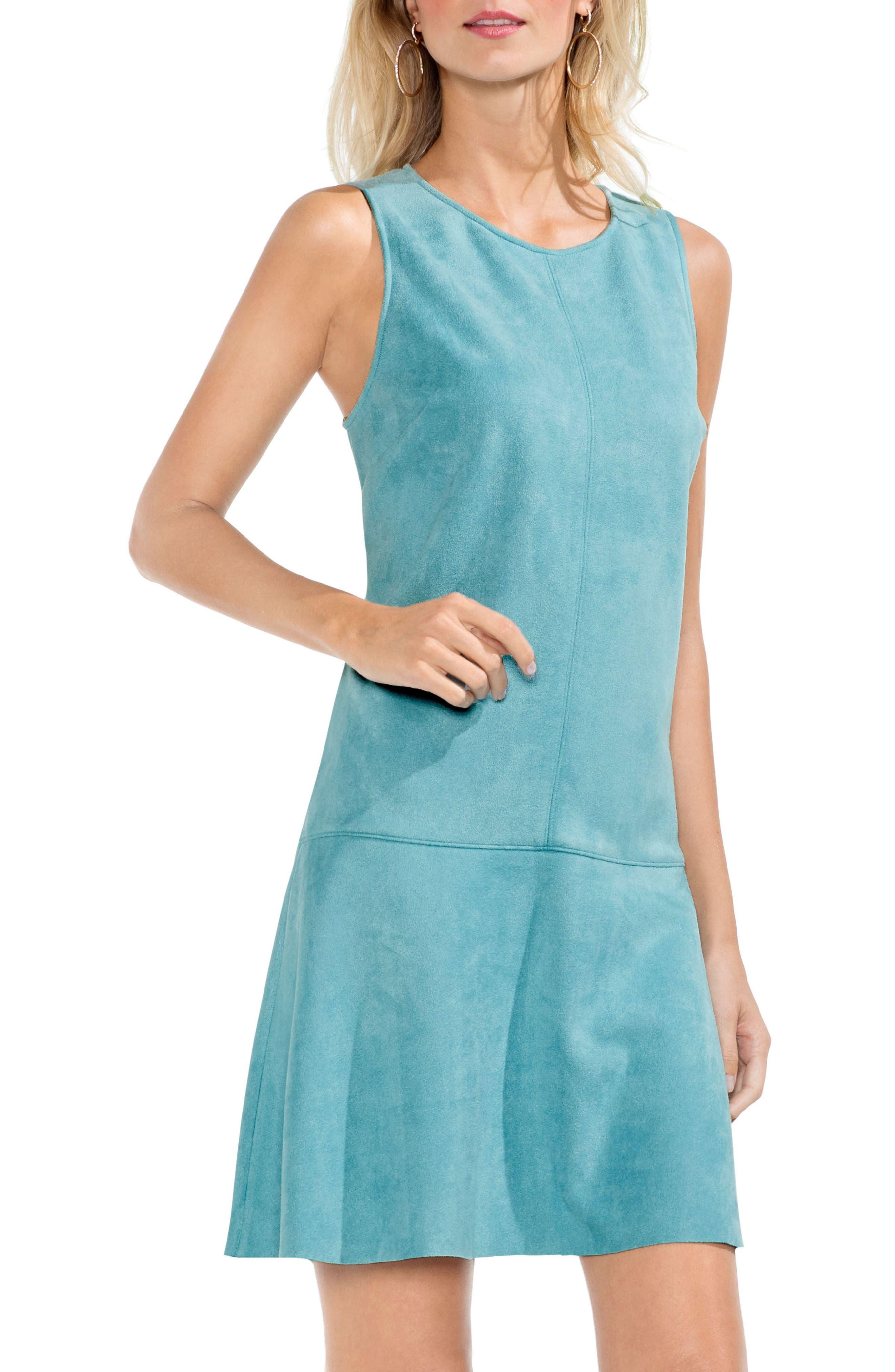 Faux Suede Drop Waist Dress,                             Main thumbnail 1, color,                             Ocean Tide
