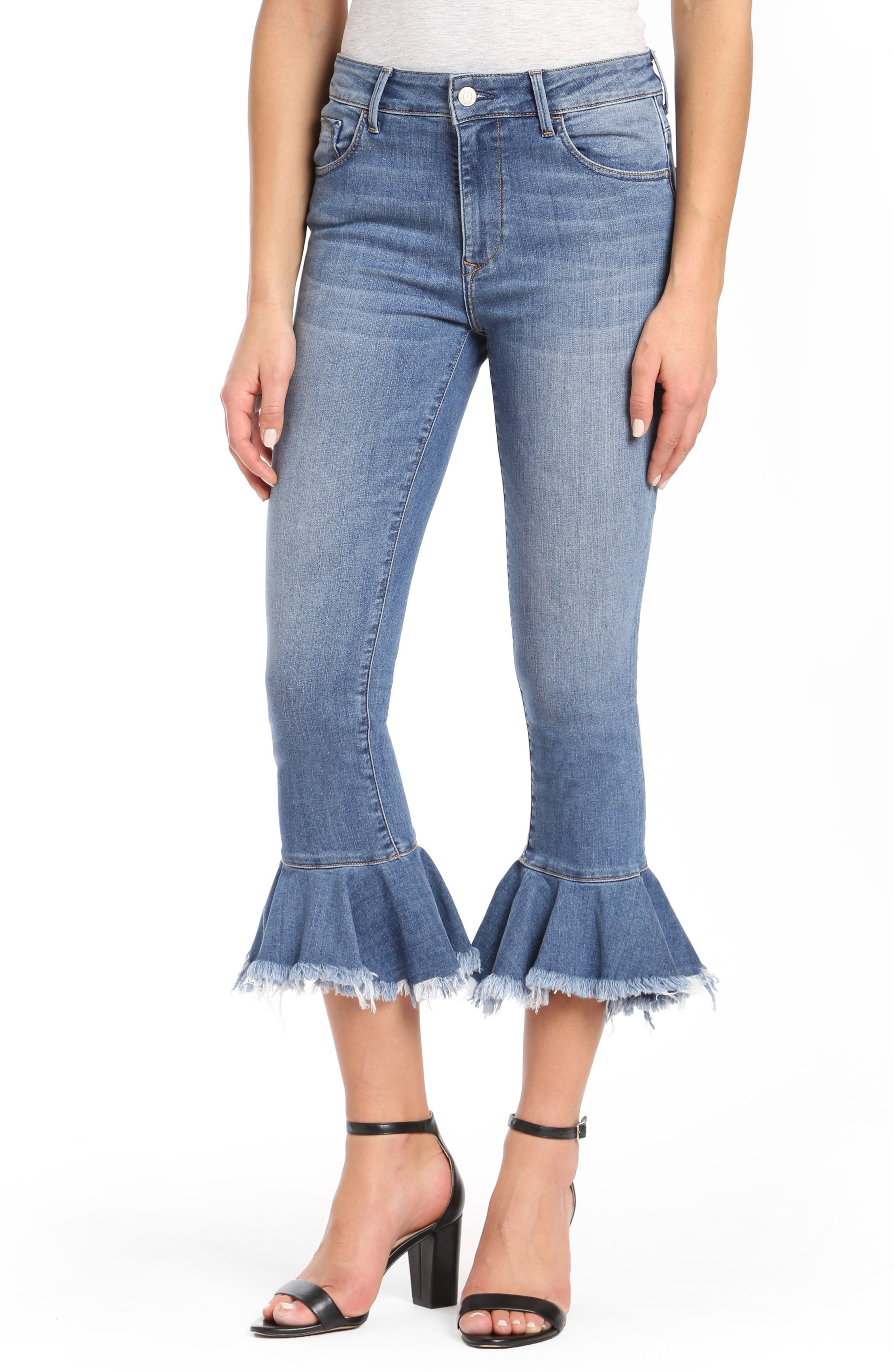 Mavi Tessa Super Skinny Flounce Hem Jeans (Mid Brushed Cheeky)