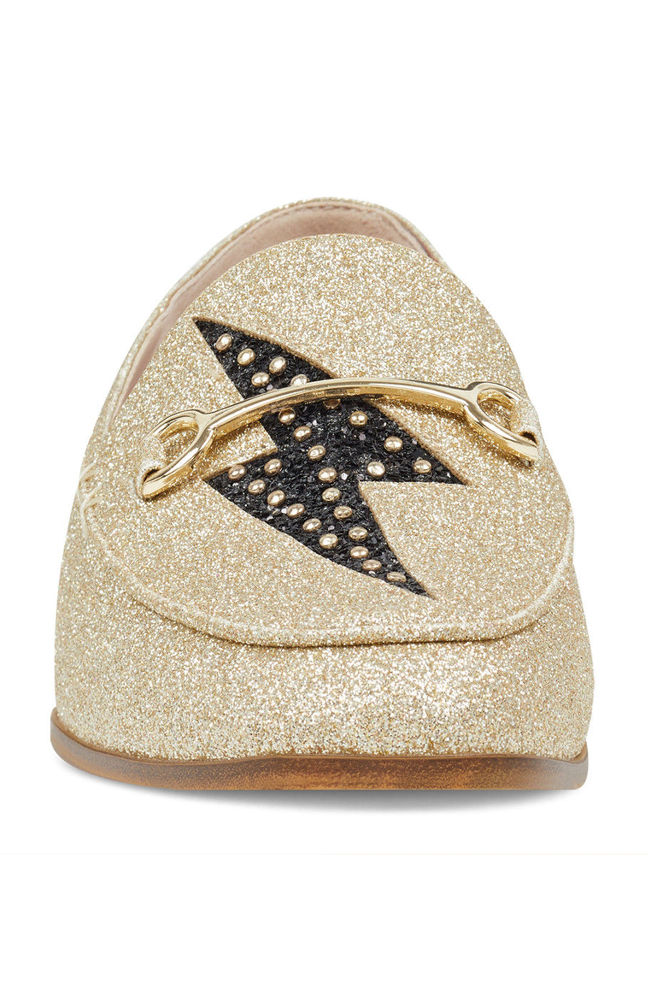 Wildgirls Embellished Loafer,                             Alternate thumbnail 4, color,                             Light Gold/ Black Fabric