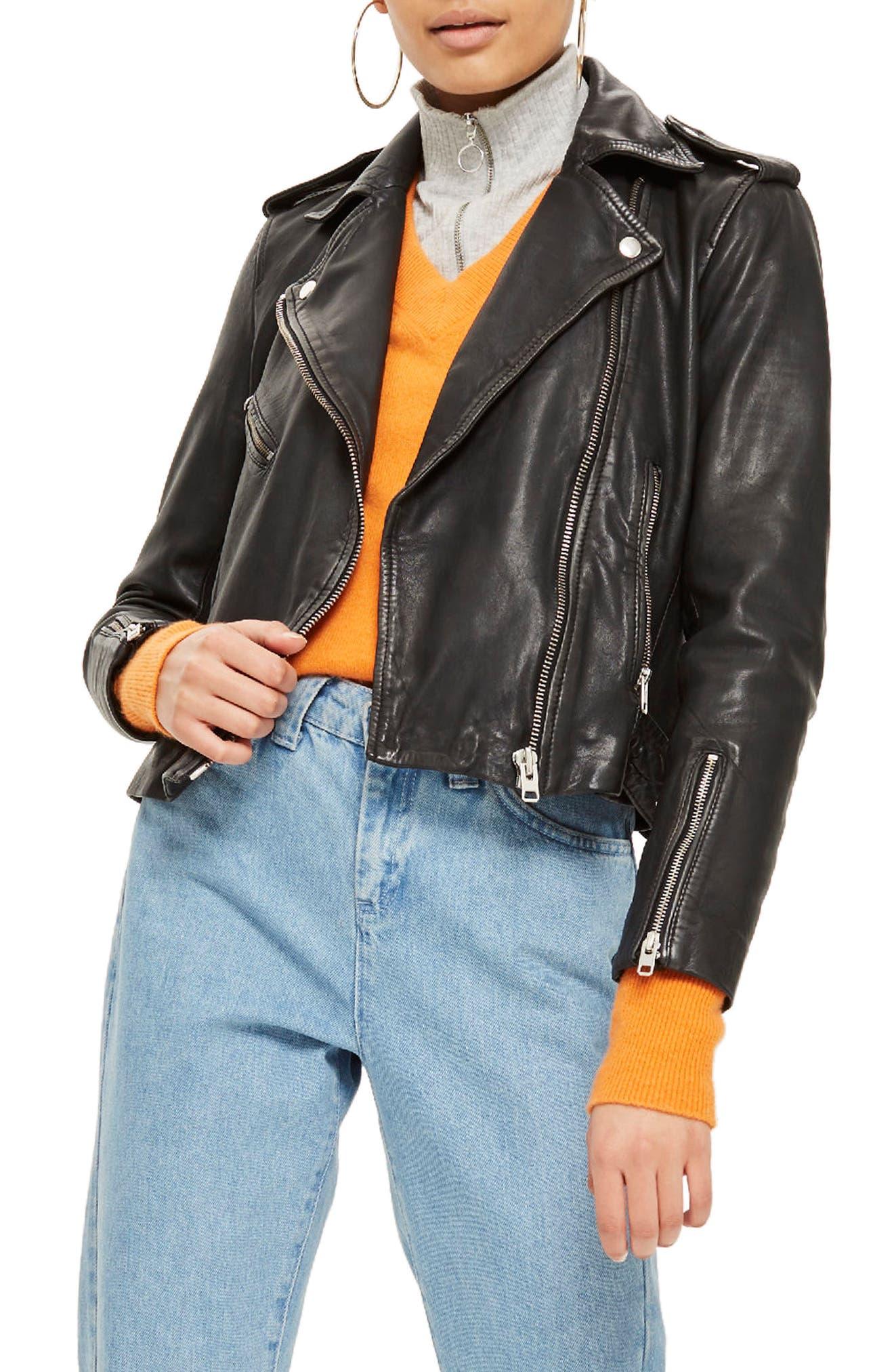Main Image - Topshop Strike Leather Biker Jacket