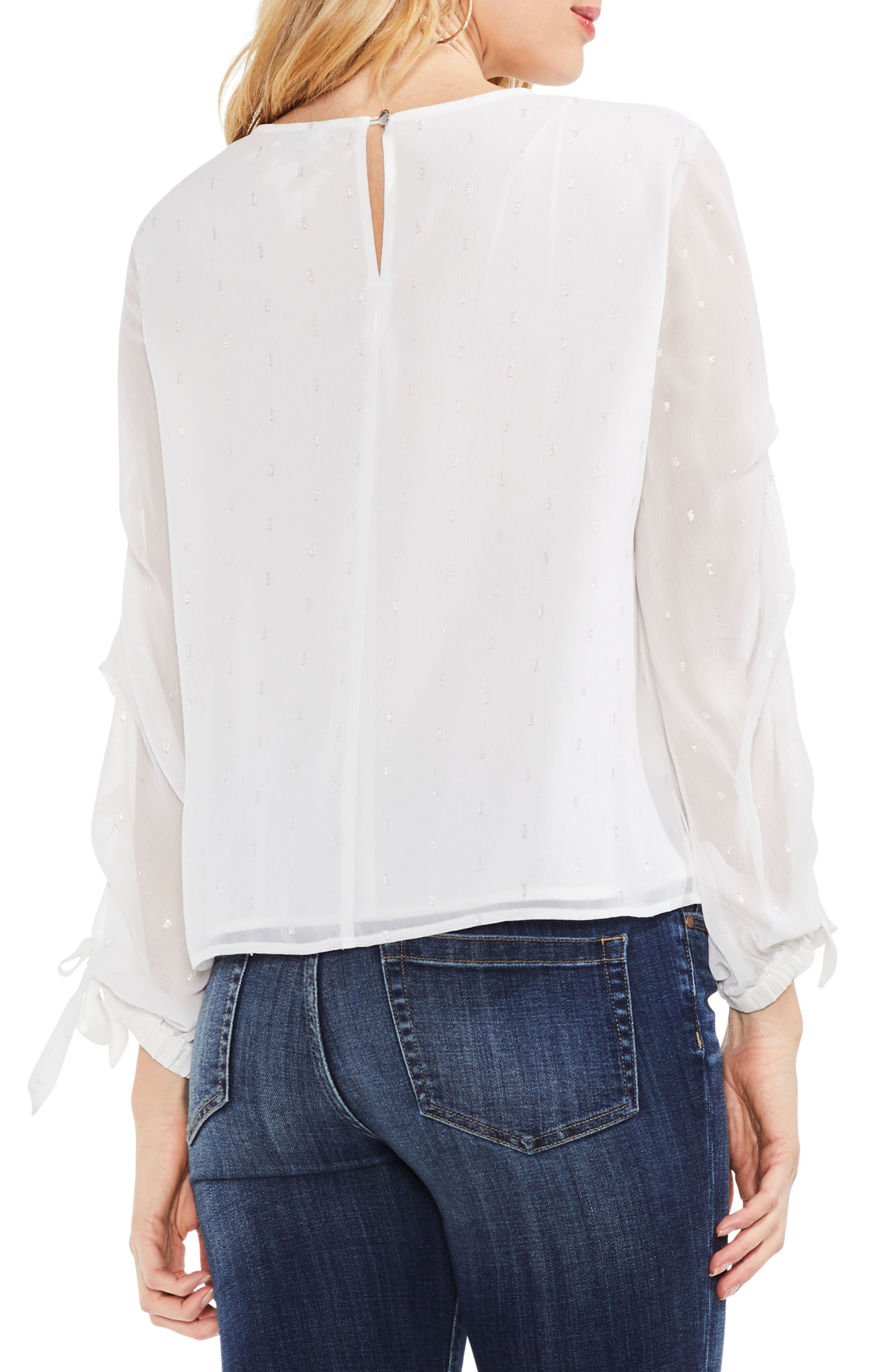 Tiered Sleeve Metallic Clip Dot Blouse,                             Alternate thumbnail 2, color,                             New Ivory