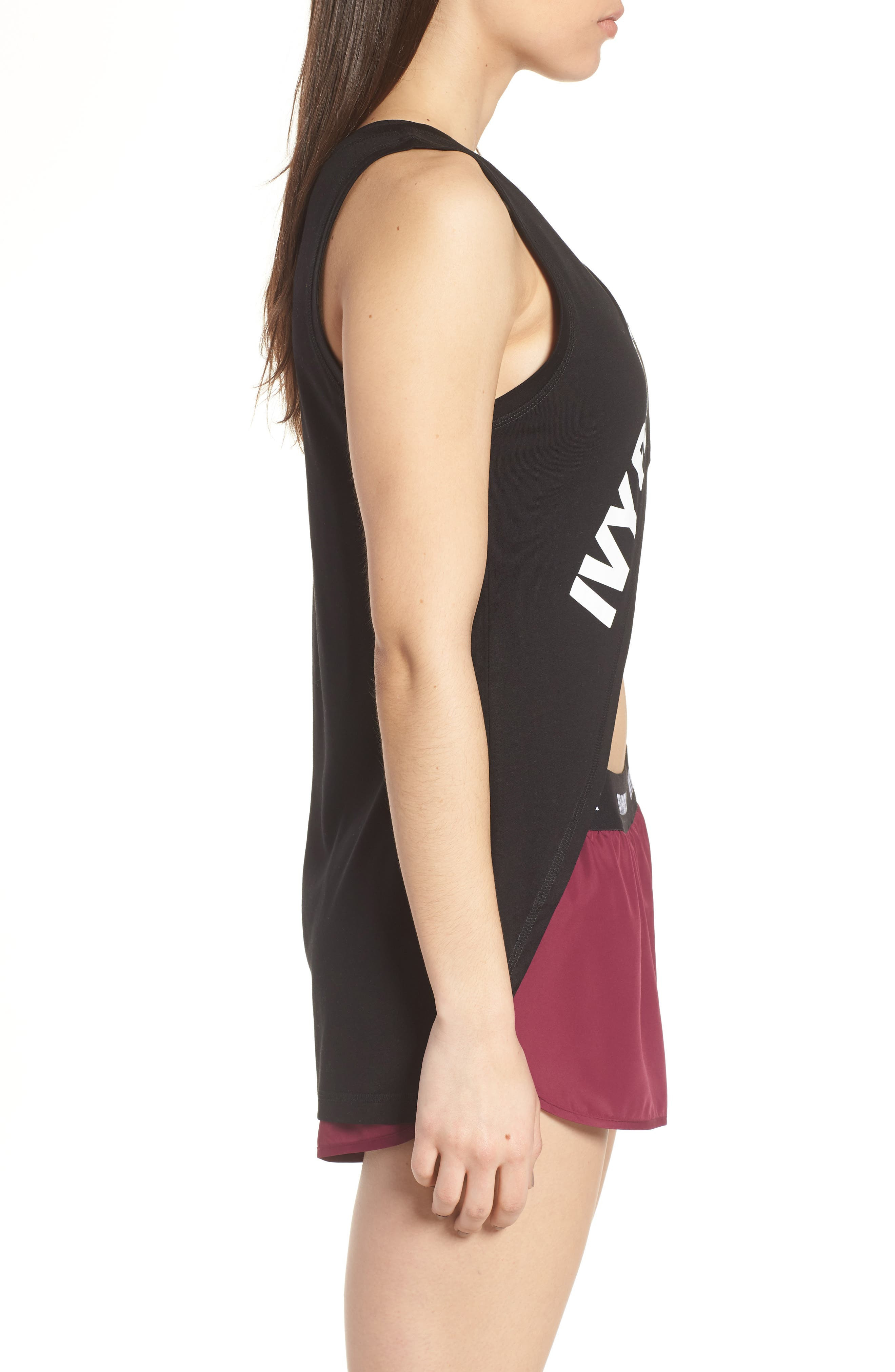 Cross Front Tank Top,                             Alternate thumbnail 3, color,                             Black