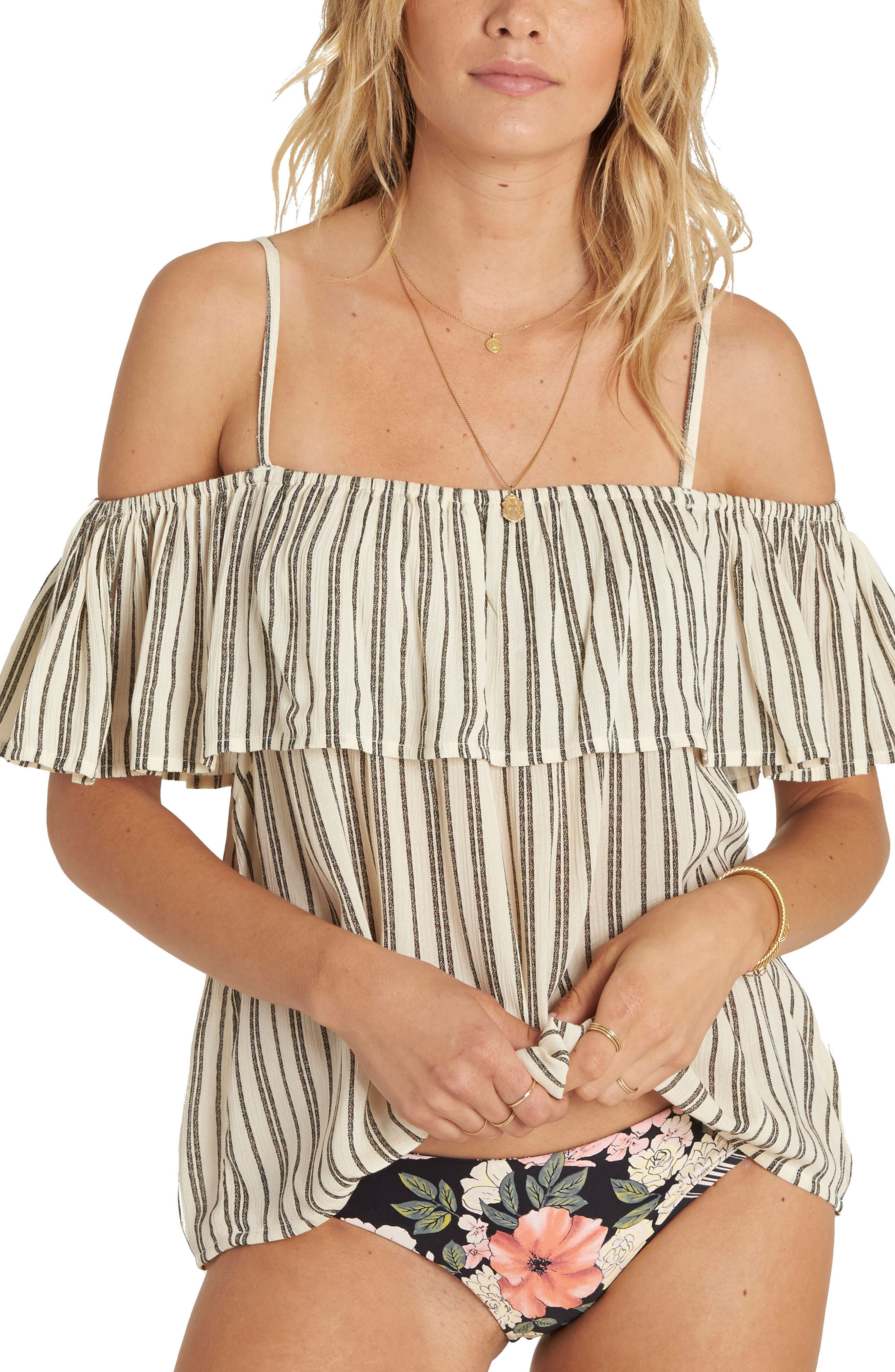 Summer Sunsets Ruffle Off the Shoulder Top,                             Main thumbnail 1, color,                             White Cap