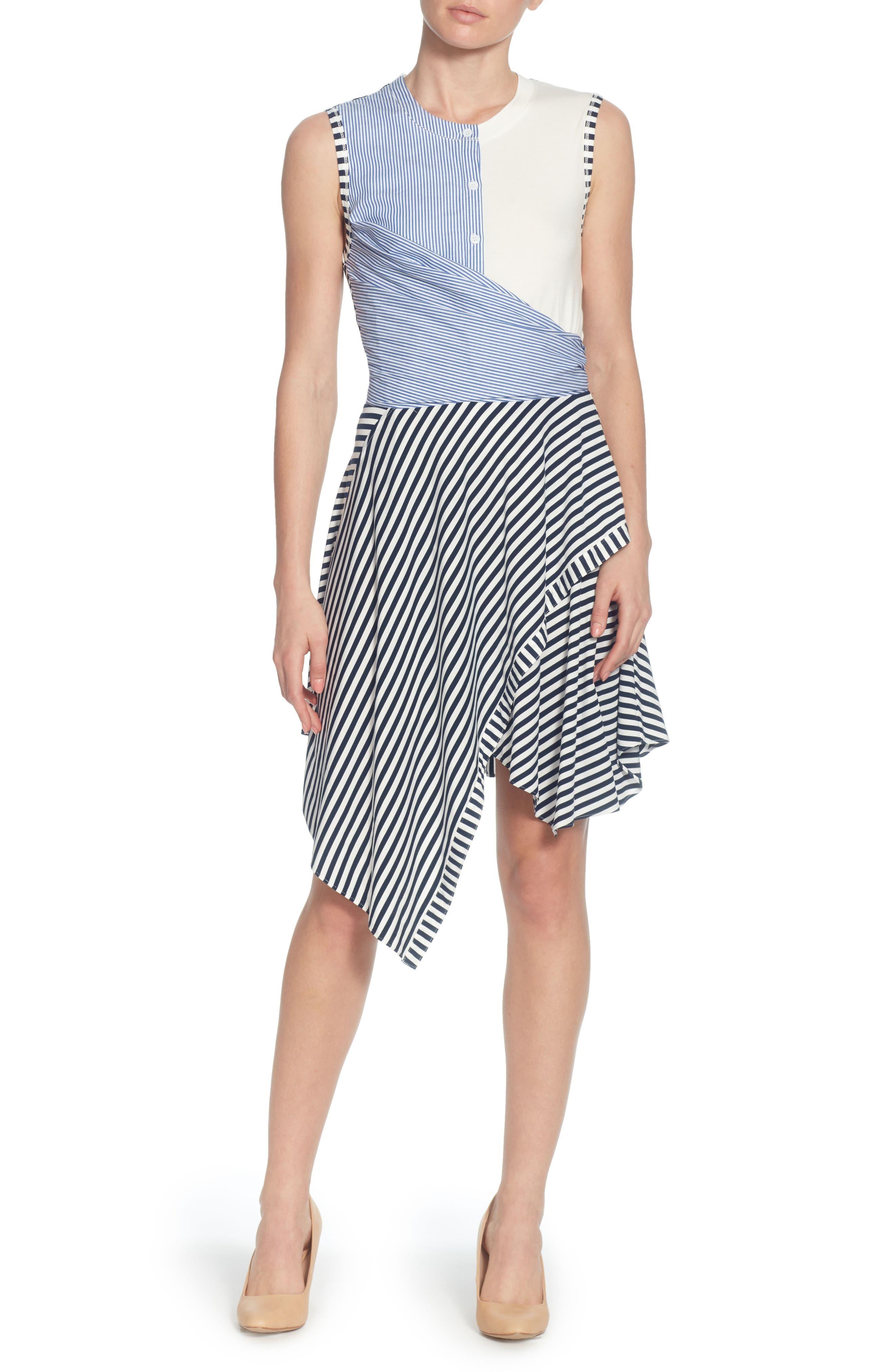 Pattern Mix Asymmetrical Stripe Dress,                             Main thumbnail 1, color,                             Blue/ White Stripe
