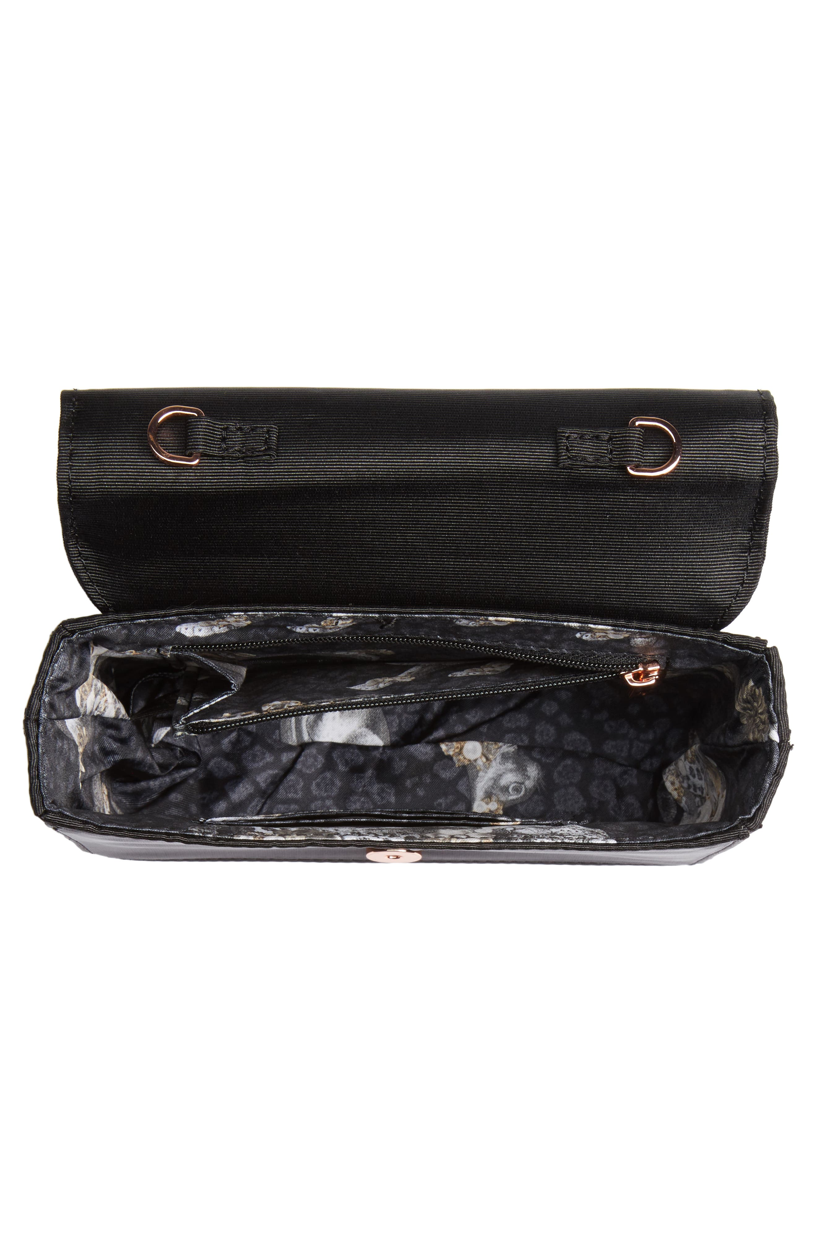 Looped Bow Clutch,                             Alternate thumbnail 4, color,                             Black