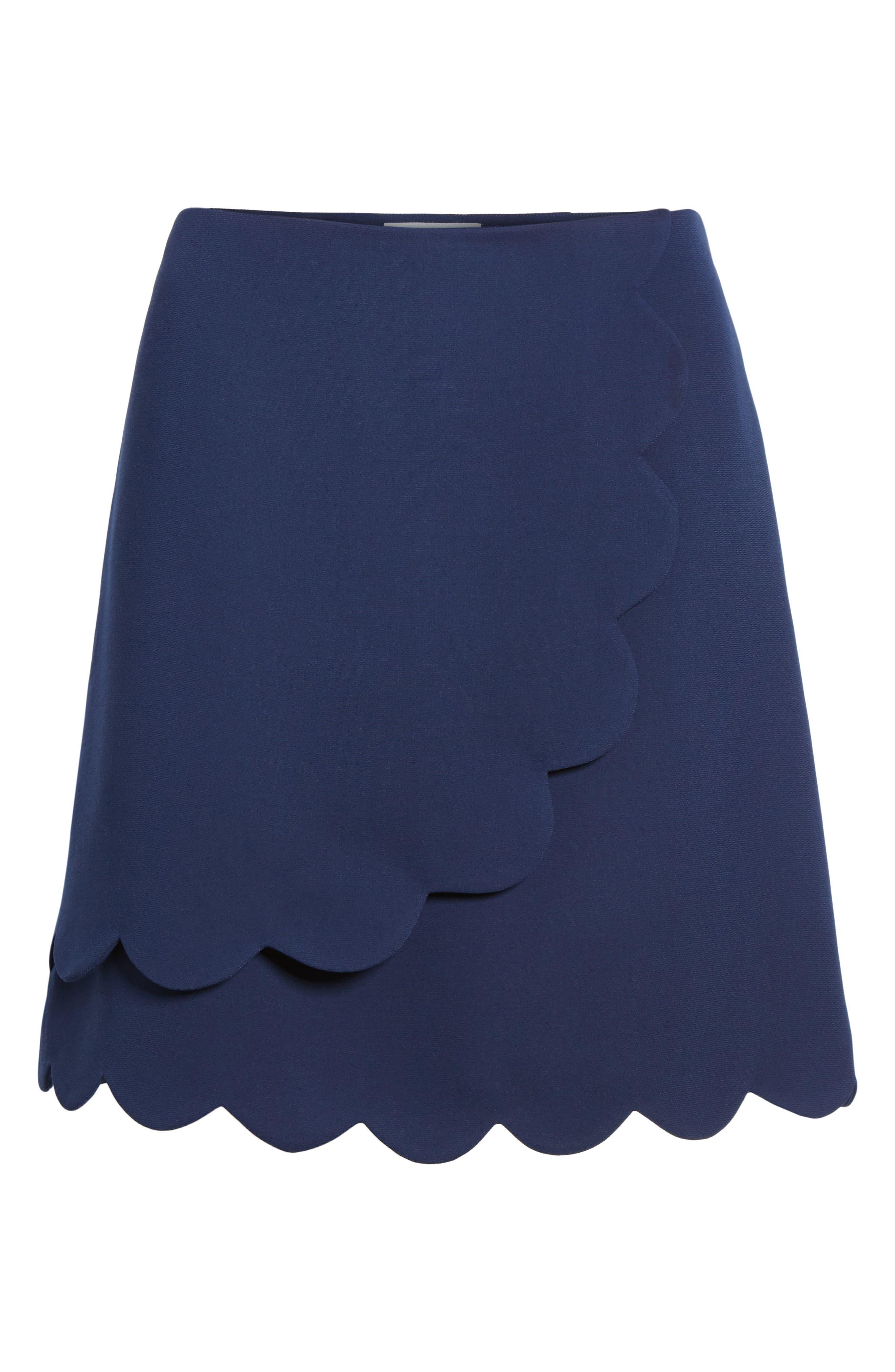 Scallop Skirt,                             Alternate thumbnail 6, color,                             Navy