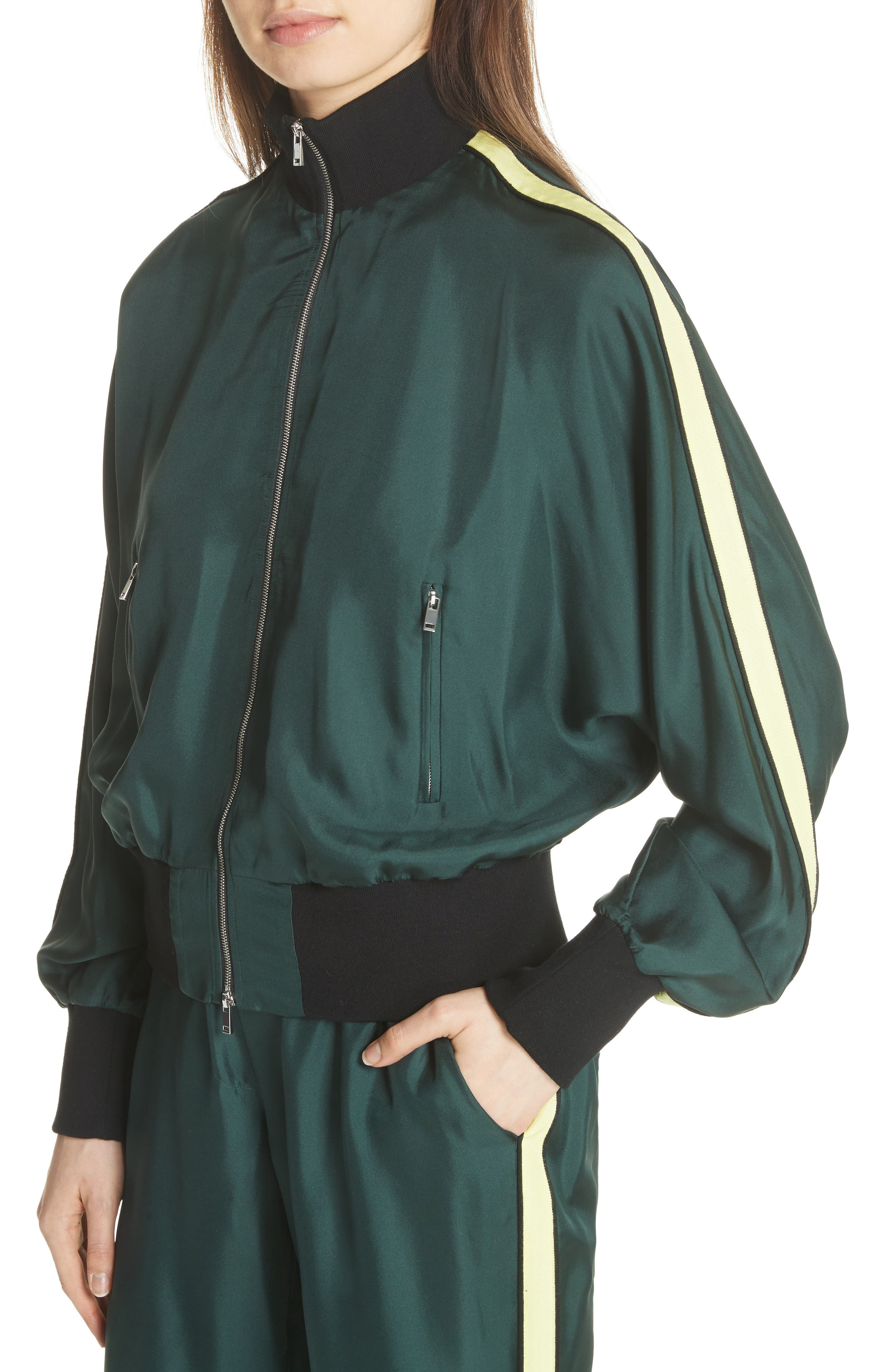 Silk Track Jacket,                             Alternate thumbnail 7, color,                             Green