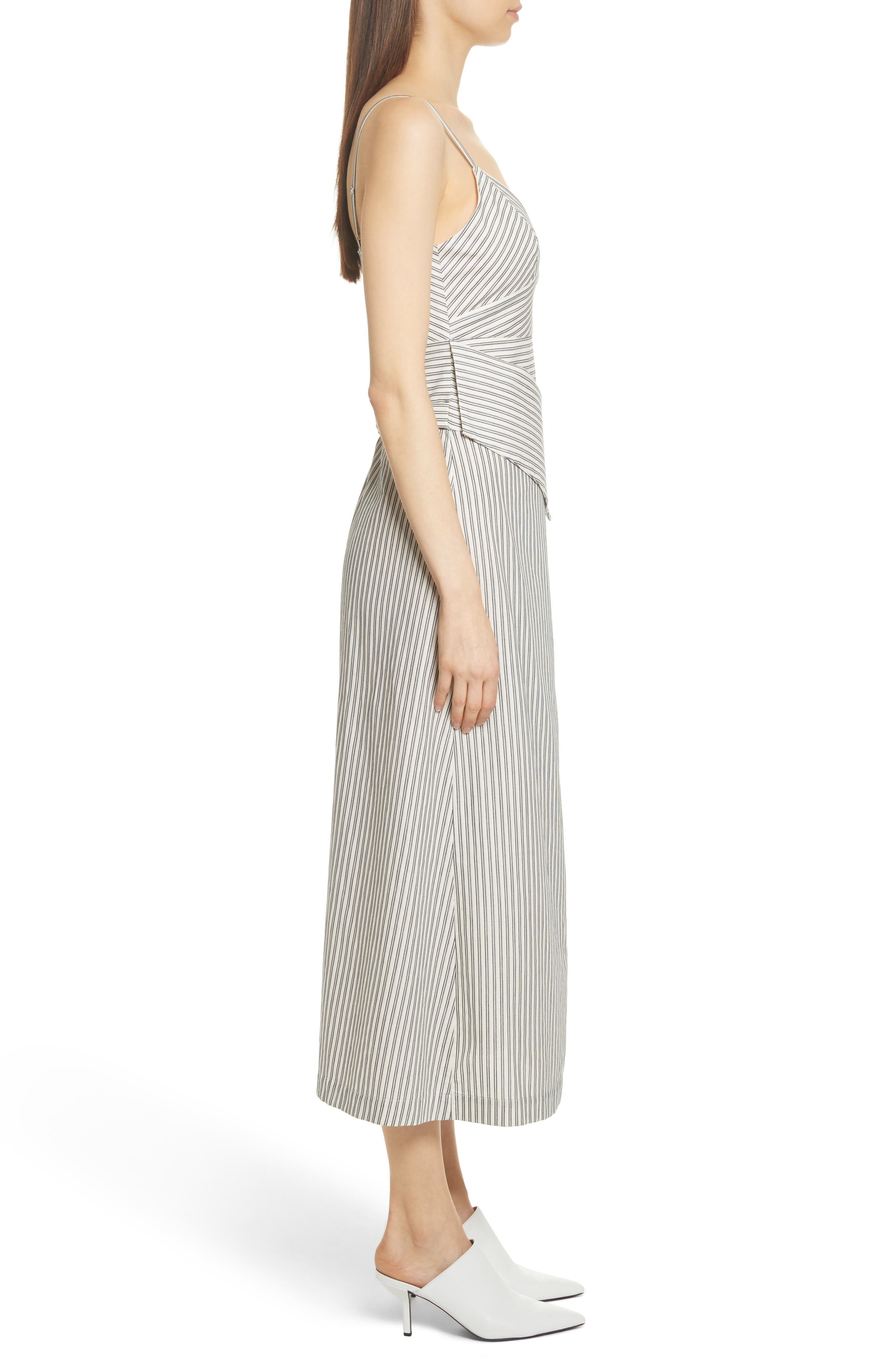 Stripe Wrap Front Midi Dress,                             Alternate thumbnail 5, color,                             Blue/ Ivory Stripe