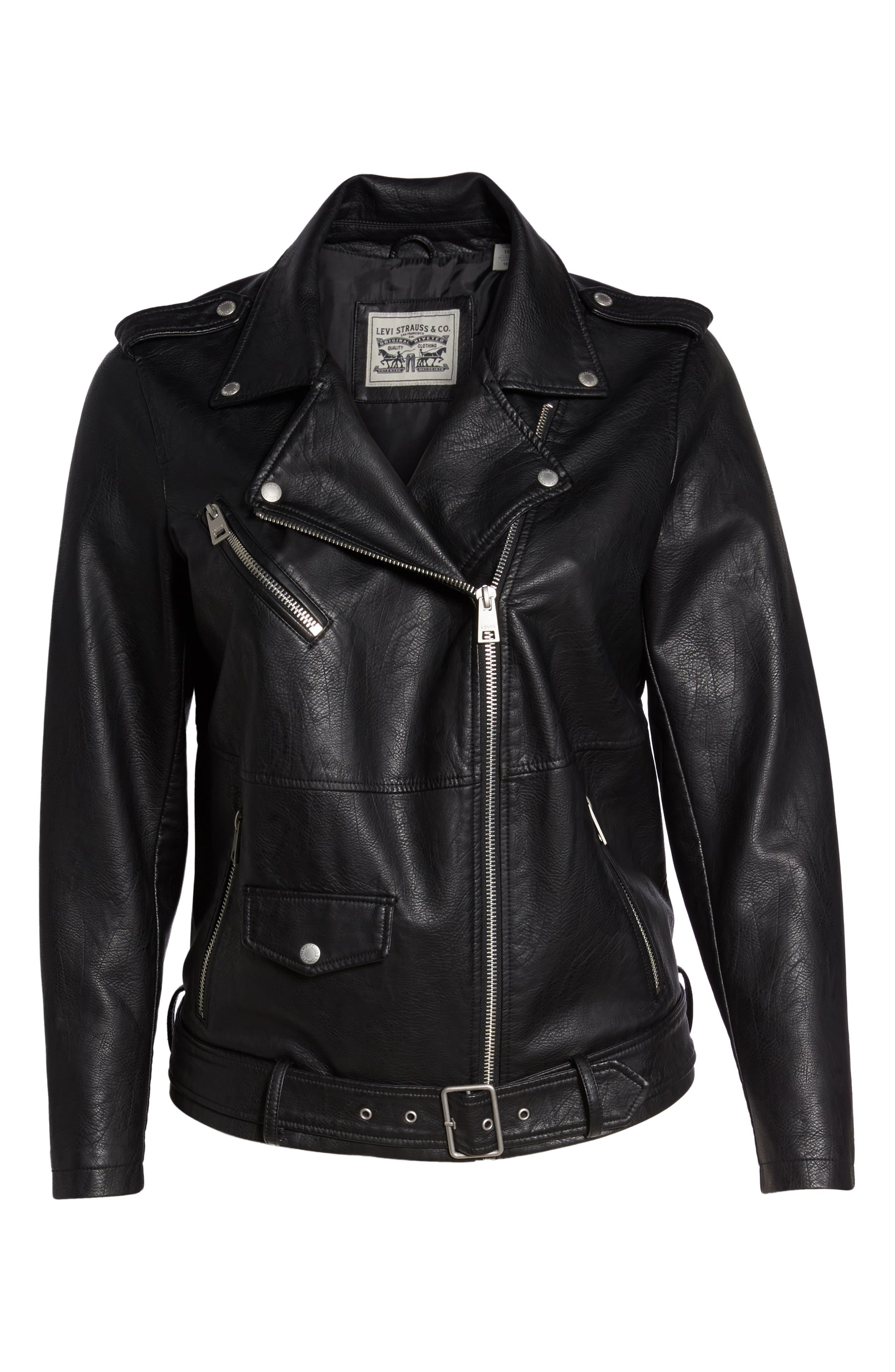 Oversize Faux Leather Moto Jacket,                             Alternate thumbnail 6, color,                             Black