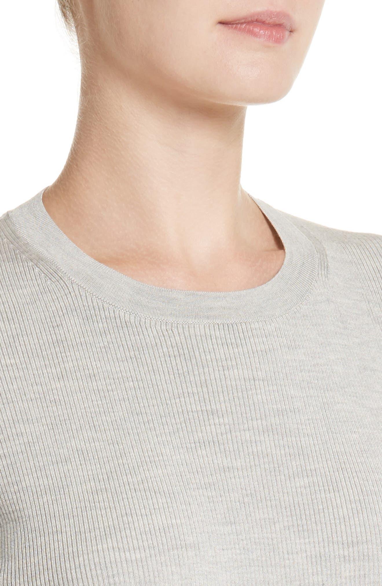 Rib Knit Silk Blend Sweater,                             Alternate thumbnail 4, color,                             Pebble Melange