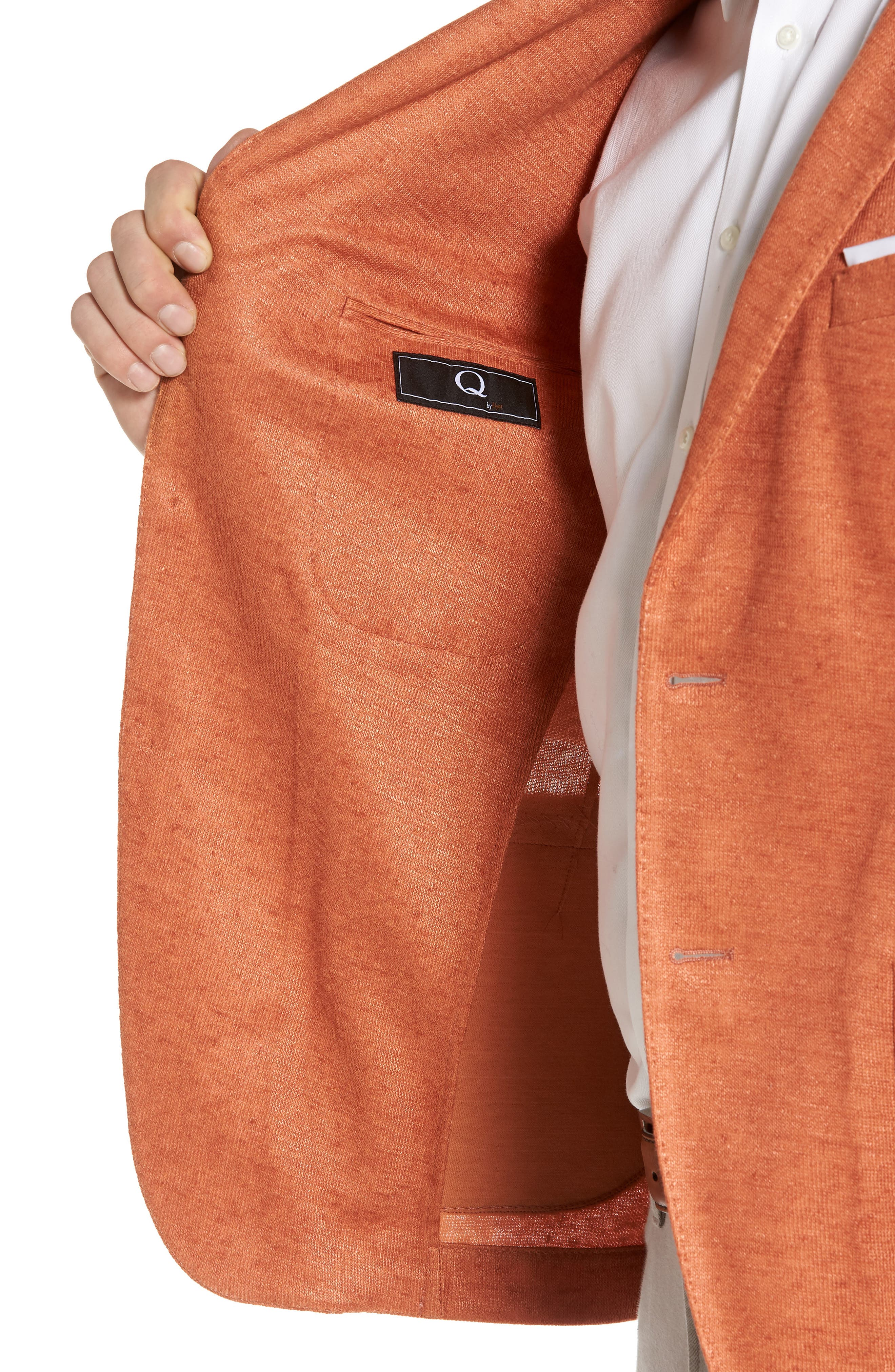 Trim Fit Heathered Jersey Blazer,                             Alternate thumbnail 4, color,                             Orange