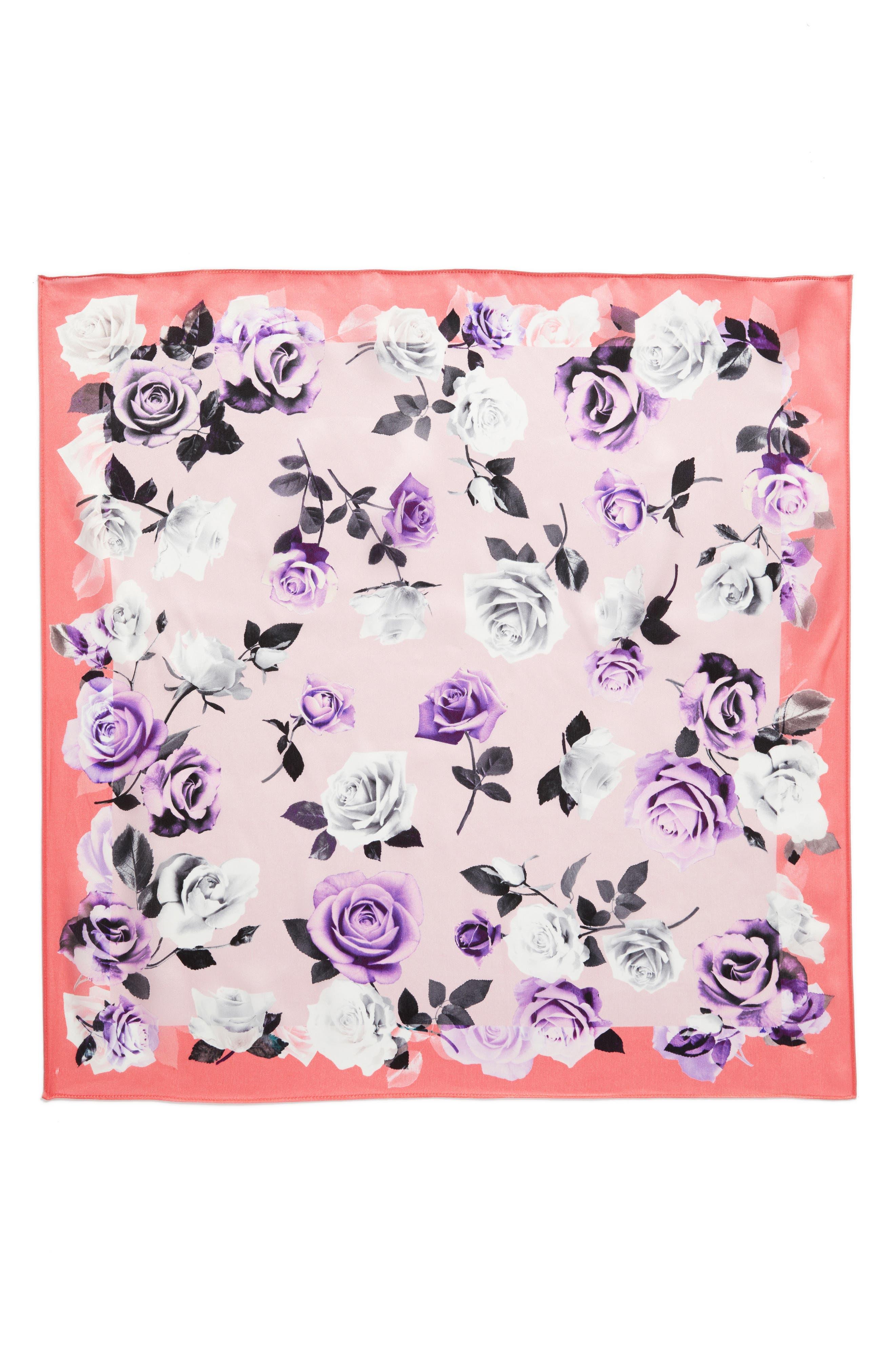 Print Silk Scarf,                             Alternate thumbnail 3, color,                             Pink Glam Rock Rose Print