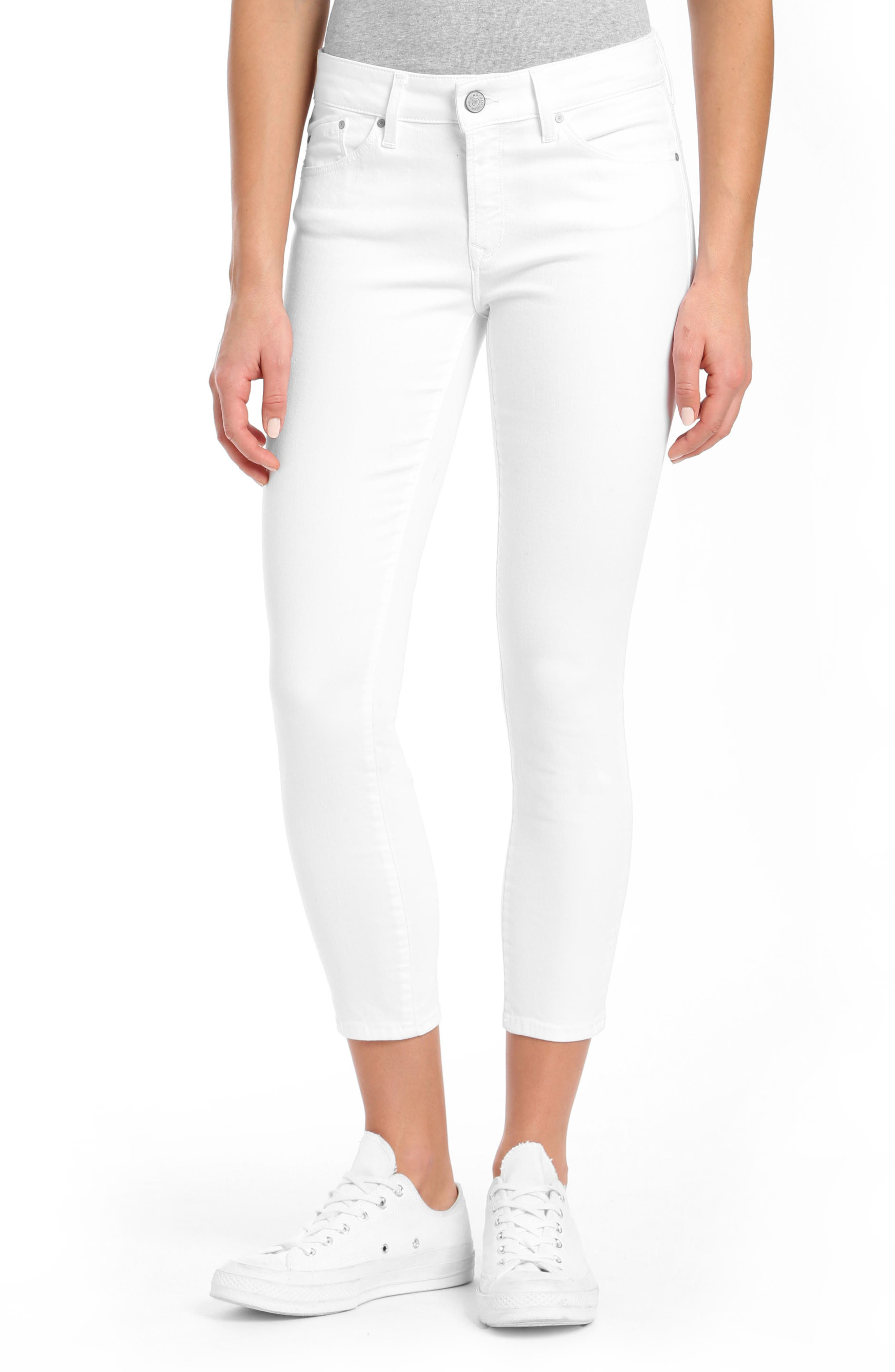 Adriana Ankle Jeans,                         Main,                         color, White Tribeca