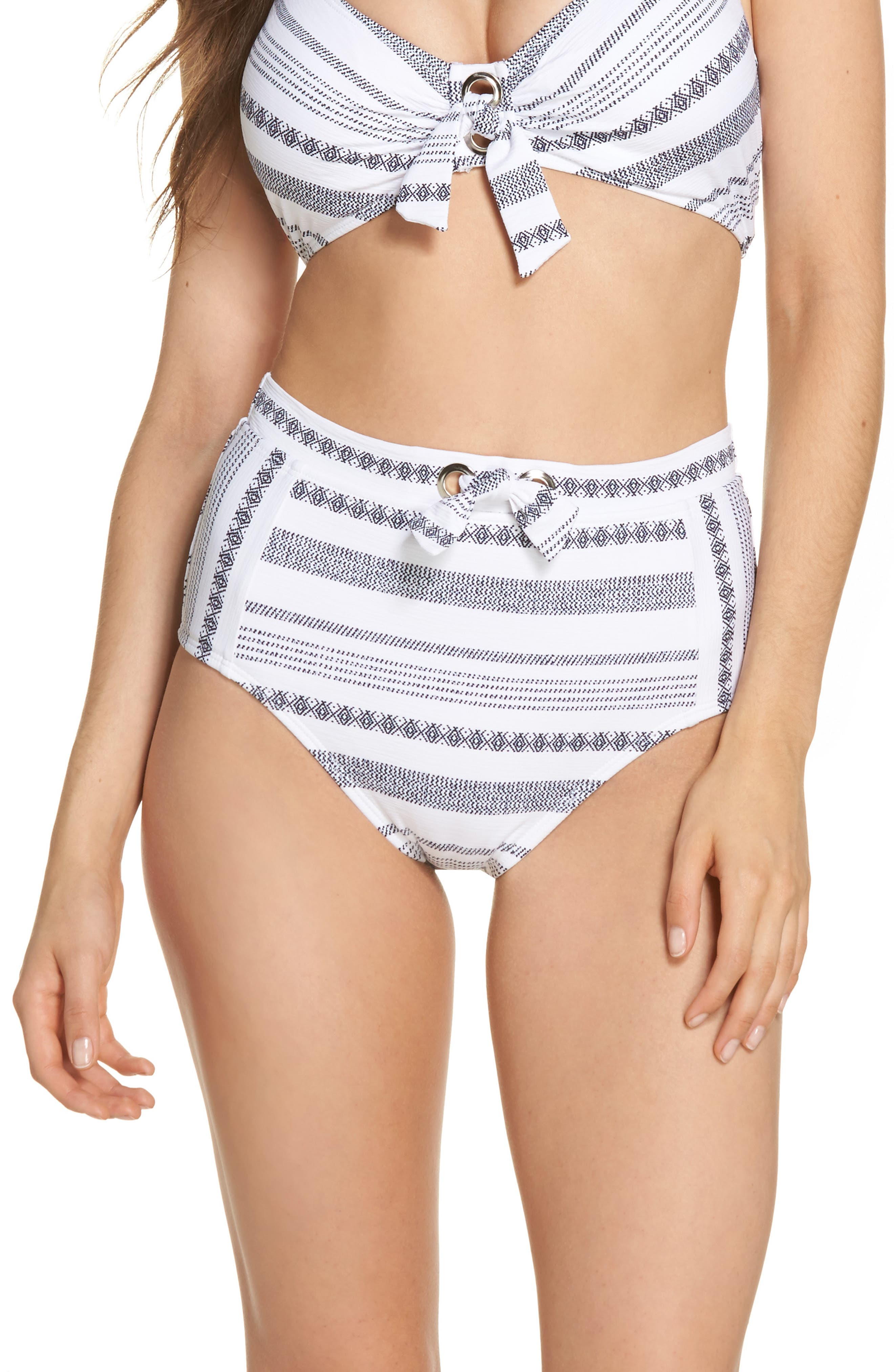 Sand Bar High Waist Bikini Bottoms,                         Main,                         color, White