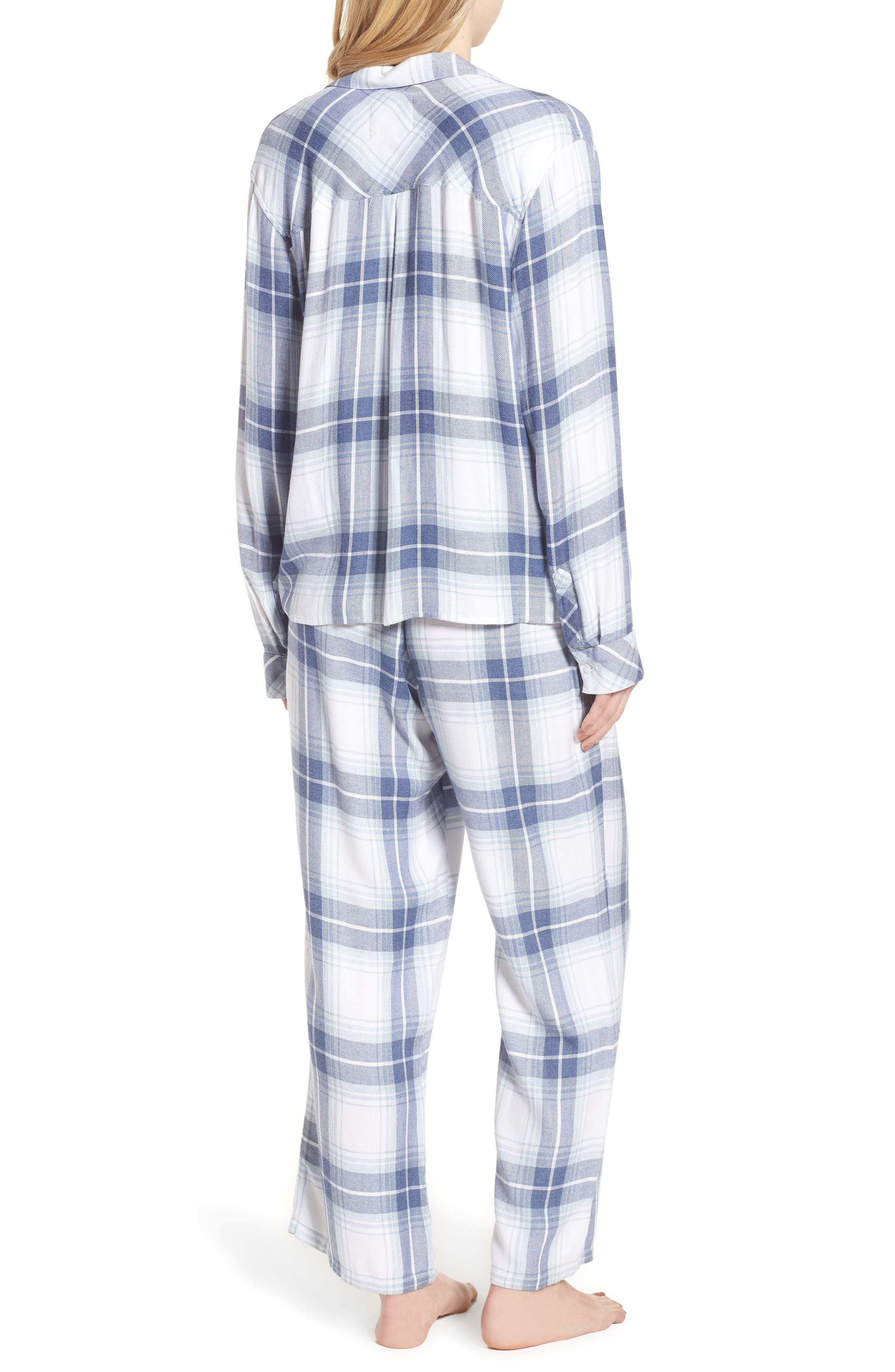 Plaid Pajamas,                             Alternate thumbnail 2, color,                             Pacific Sky White