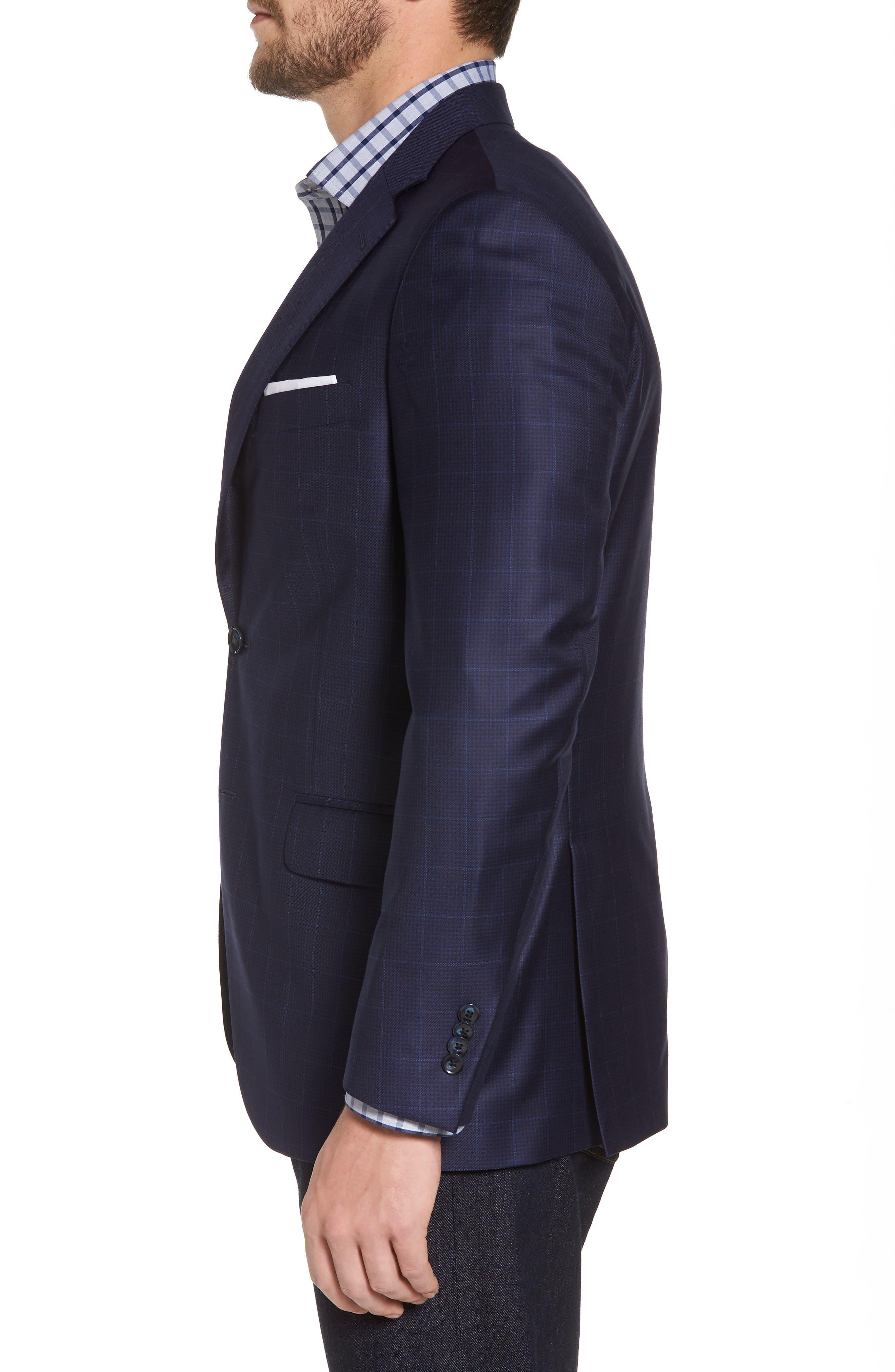 Classic Fit Windowpane Wool Sport Coat,                             Alternate thumbnail 3, color,                             Navy