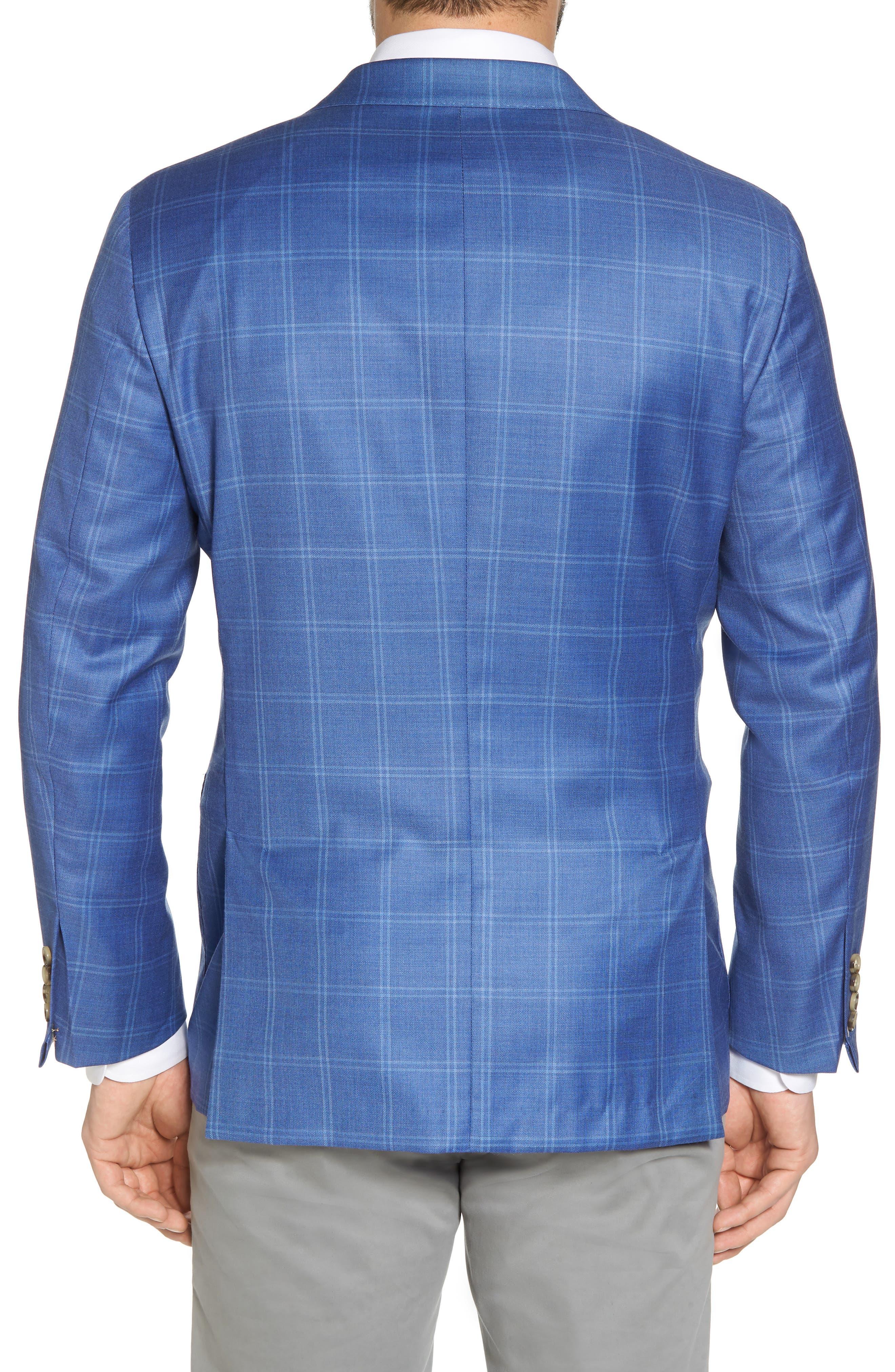 Global Guardian Classic B Fit Windowpane Wool Sport Coat,                             Alternate thumbnail 2, color,                             Light Blue