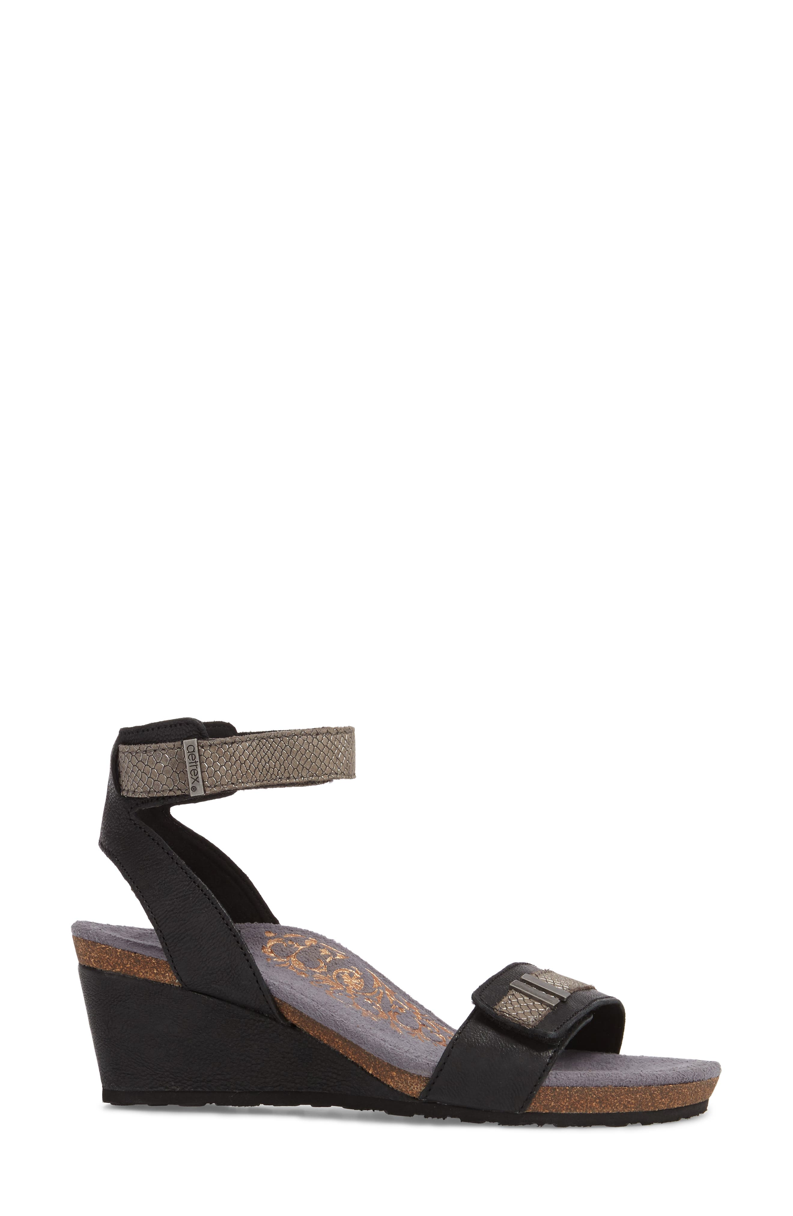 Gia Wedge Sandal,                             Alternate thumbnail 3, color,                             Black Leather