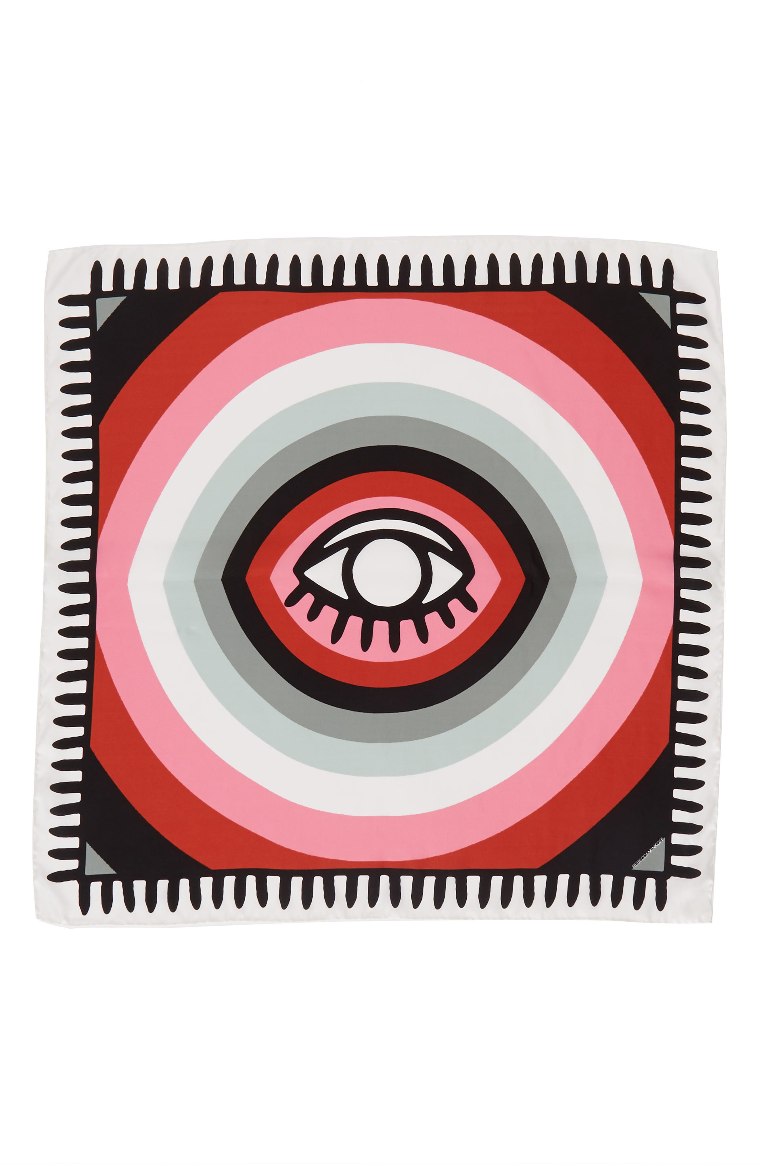 Evil Eye Square Silk Scarf,                             Alternate thumbnail 3, color,                             White Multi